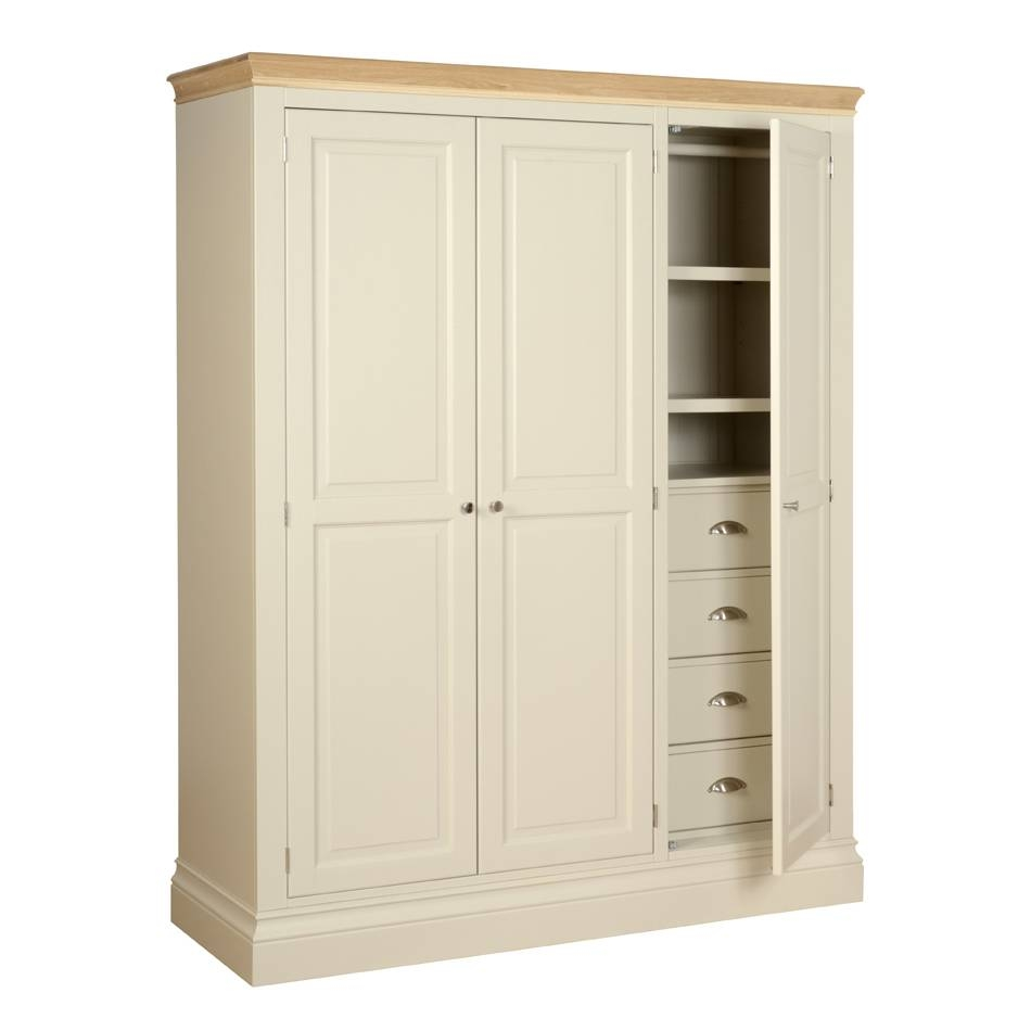 Lundy Painted & Oak Ladies' Triple Wardrobe With Shelves/drawers for Double Wardrobe With Drawers and Shelves (Image 23 of 30)