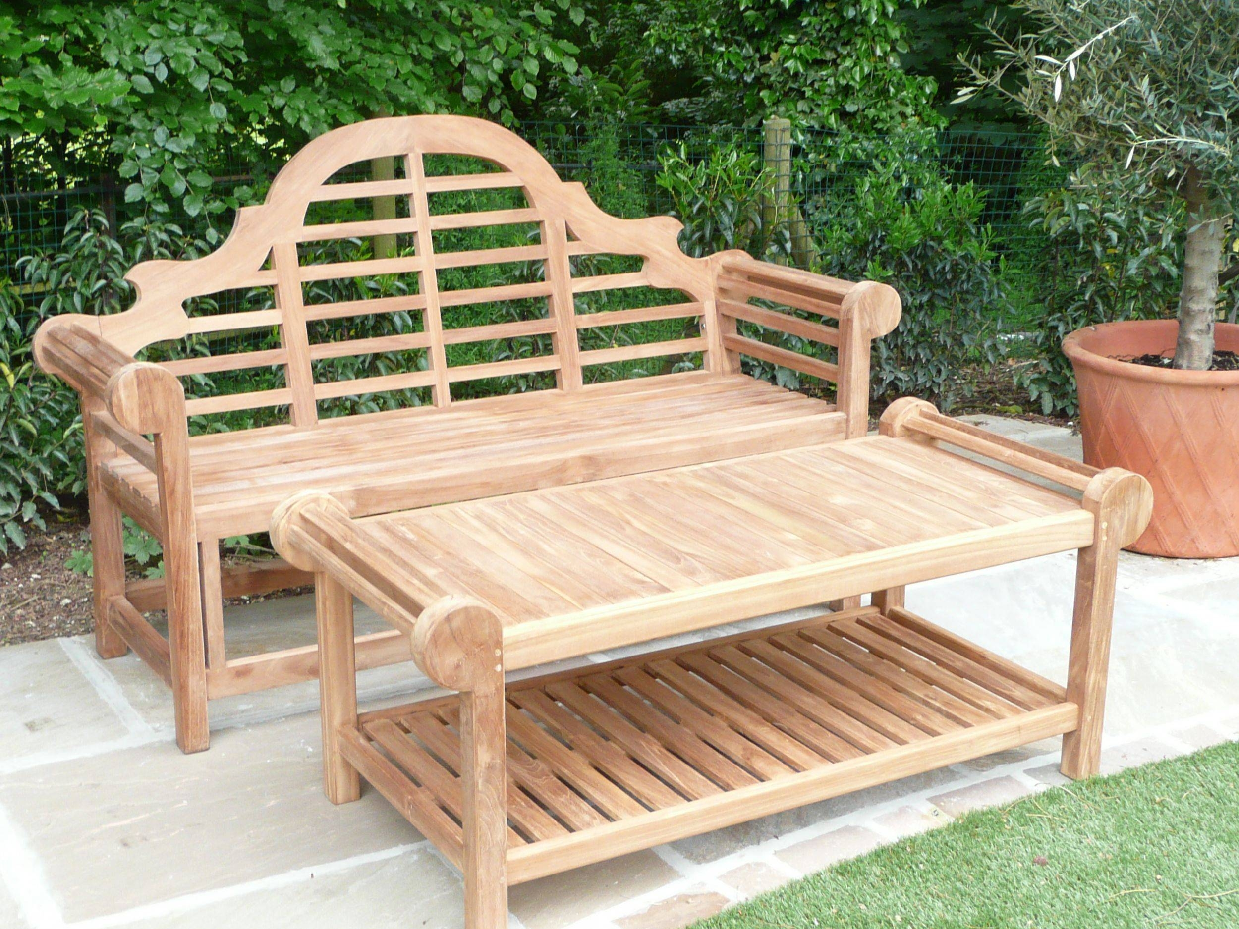 Lutyens Teak Bench & Coffee Table – Humber Imports Uk | Humber Imports Regarding Wooden Garden Coffee Tables (Image 17 of 30)