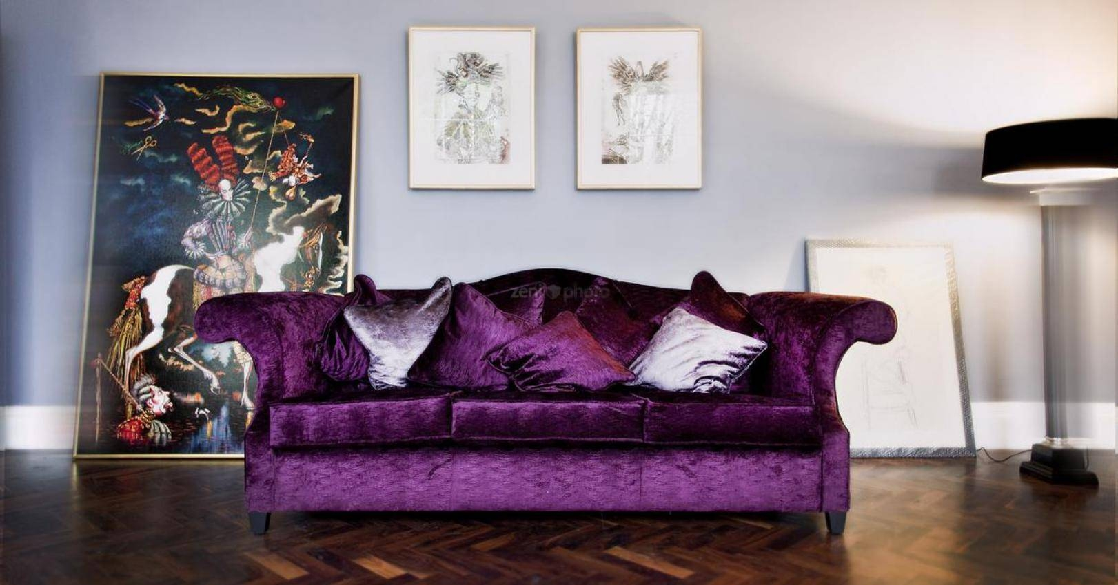 Luxurious Velvet Purple Sofa With Art Decor – Myohomes inside Velvet Purple Sofas (Image 14 of 30)