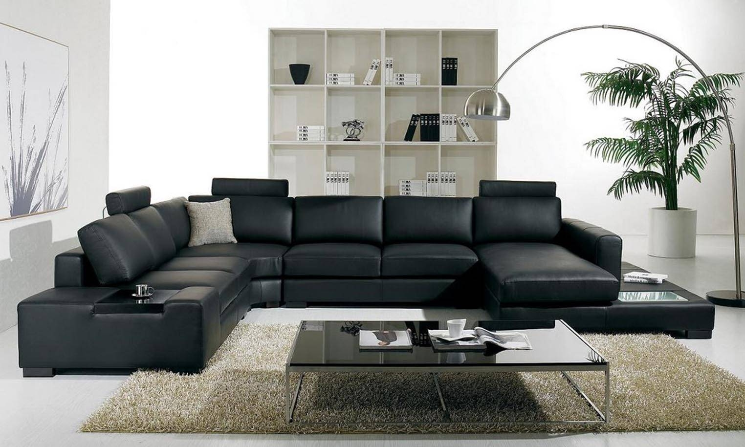 Luxury And Contemporary Black Leather Sofa With Sleeper. Living throughout Contemporary Black Leather Sofas (Image 17 of 30)
