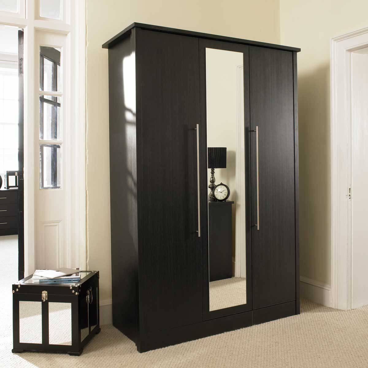 Luxury Bedroom With Black Wardrobe With Mirror Doors, Top Wardrobe for Large Black Wardrobes (Image 12 of 15)