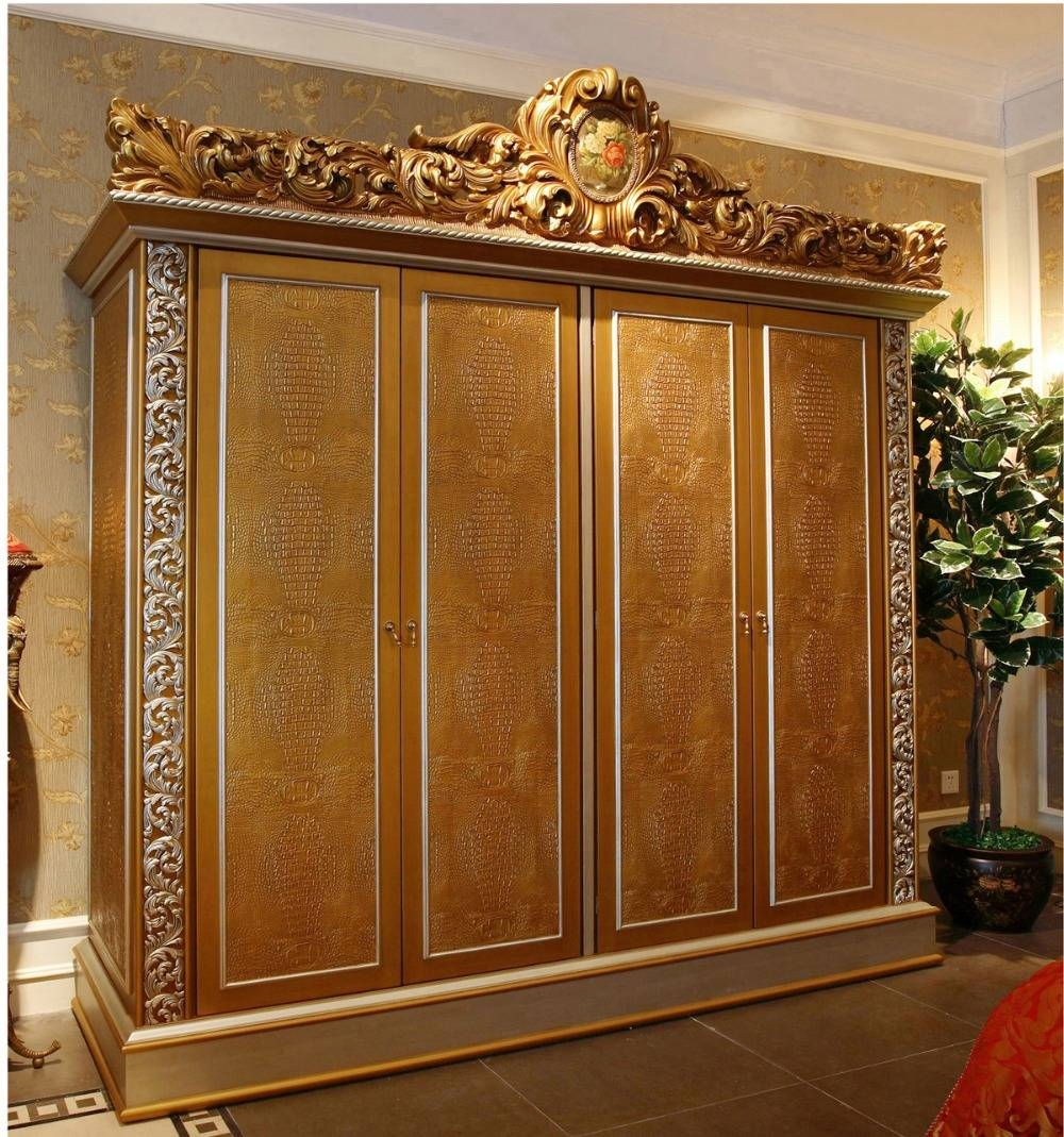 Luxury French Rococo Style Golden Four-Door Wardrobe Cabinet pertaining to Rococo Wardrobes (Image 8 of 15)