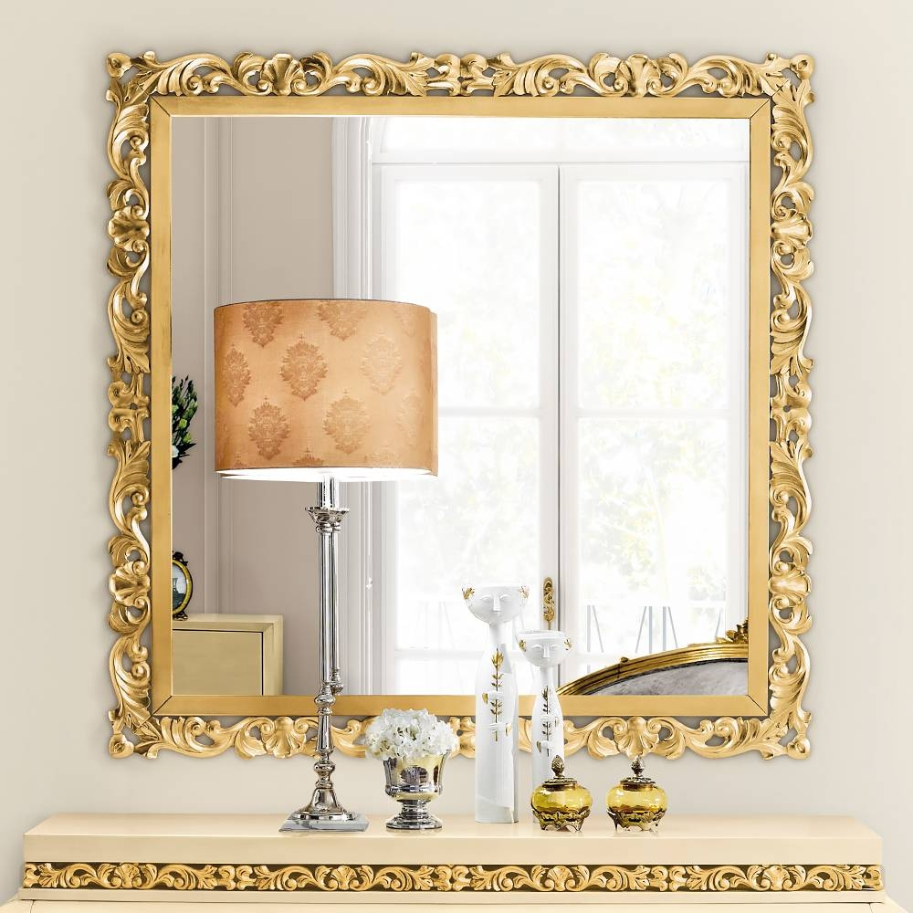 Luxury Gold Mirrors - Exclusive High End Designer Gilt Mirrors in Square Gold Mirrors (Image 17 of 25)