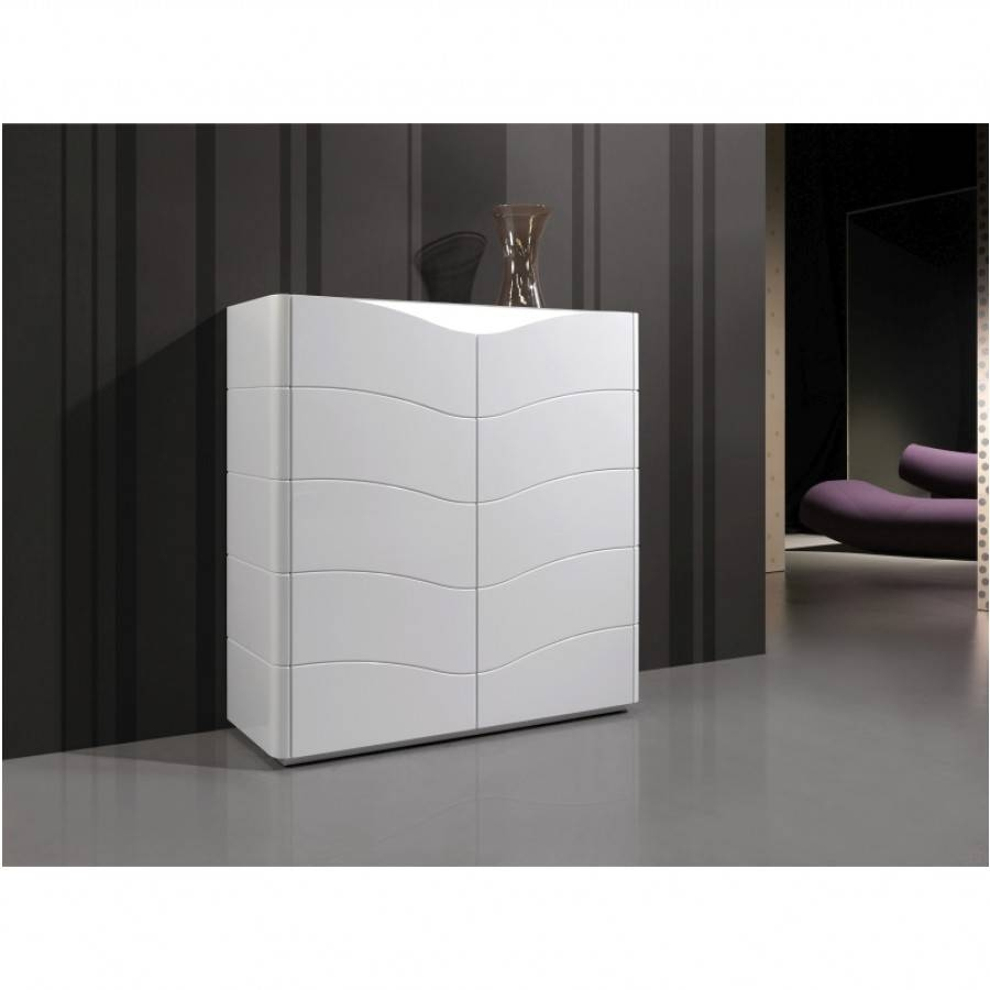 Luxury Modern Tall Sideboard / Cabinet In White Gloss Led Lighting intended for White Gloss Sideboards (Image 14 of 30)