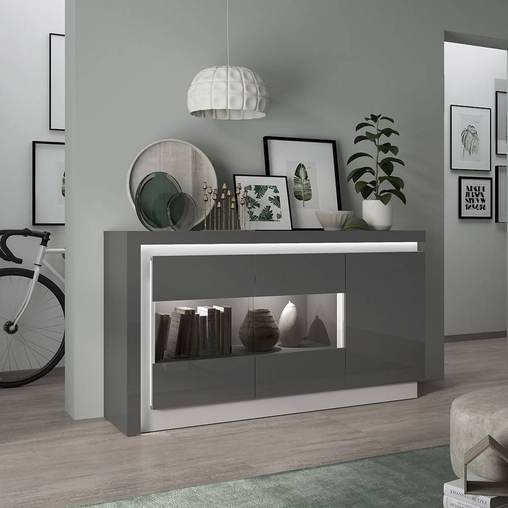 Lyon High Gloss Sideboard In Grey With Led intended for Black High Gloss Sideboards (Image 19 of 30)