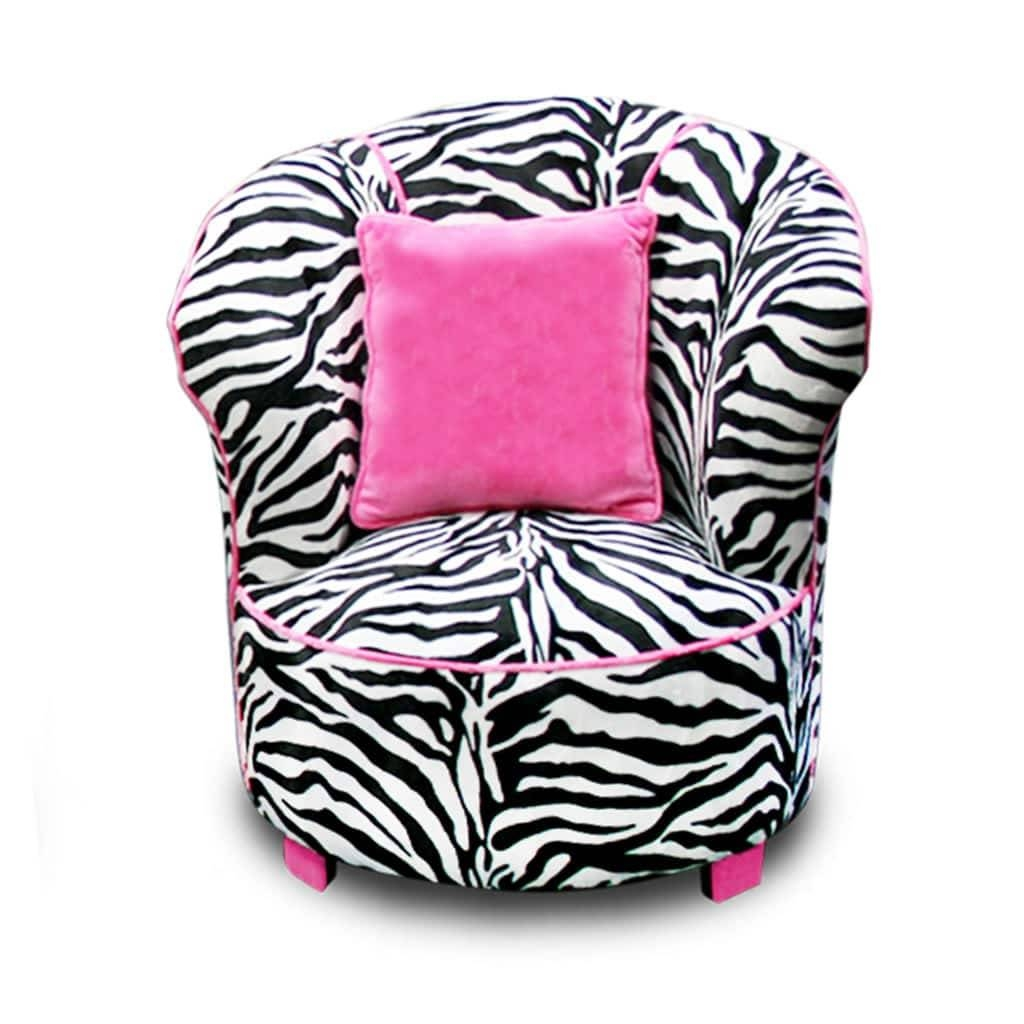 Magical Harmony Kids Minky Zebra Tulip Chair - Free Shipping Today with Kids Sofa Chair And Ottoman Set Zebra (Image 21 of 30)