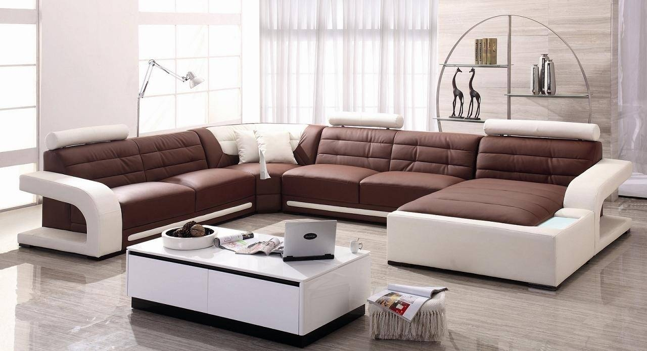 Magnificent U Shaped Chocolate Leather Modern Sleeper Sofa Grey intended for The Bay Sofas (Image 6 of 25)
