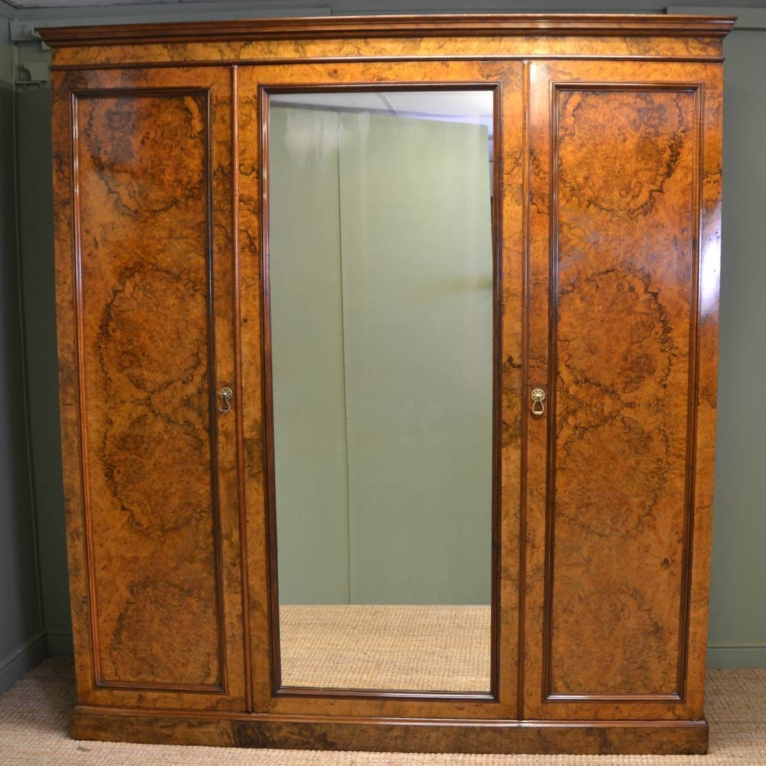 Magnificent Victorian Burr Walnut Antique Triple Wardrobe Of Large regarding Antique Triple Wardrobes (Image 6 of 15)