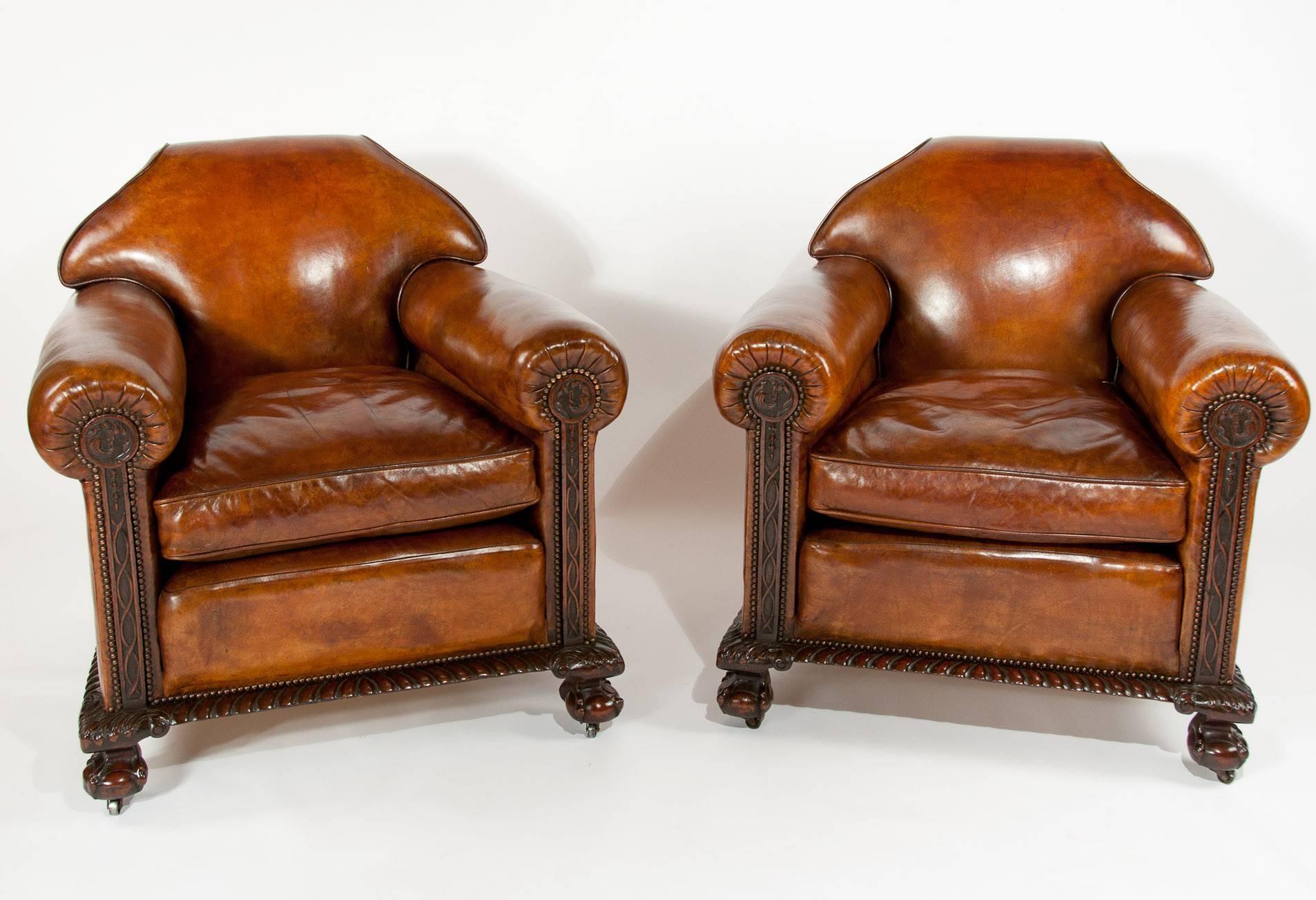 Magnificent Victorian Leather Sofa And Chairs 3 Piece Suite (1880 with Victorian Leather Sofas (Image 17 of 30)