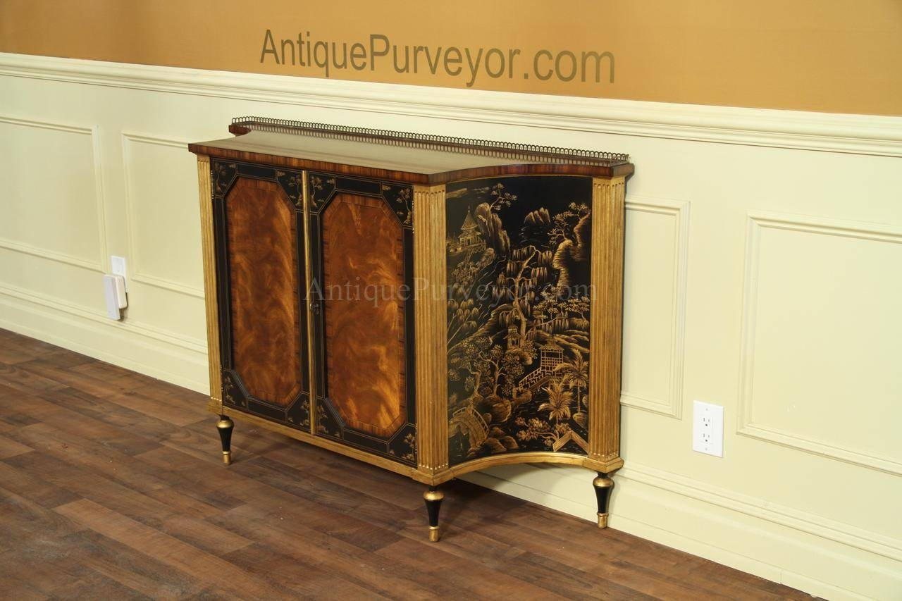 Mahogany And Rosewood Dining Room Buffet |Gold And Black Accents within Chinoiserie Sideboards (Image 17 of 30)