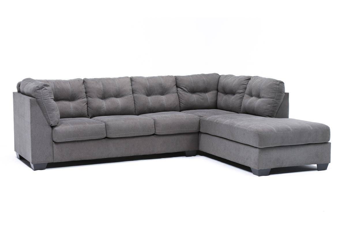 Maier Charcoal 2 Piece Sectional W/raf Chaise – Living Spaces Within Sectional Sofa With 2 Chaises (View 25 of 30)
