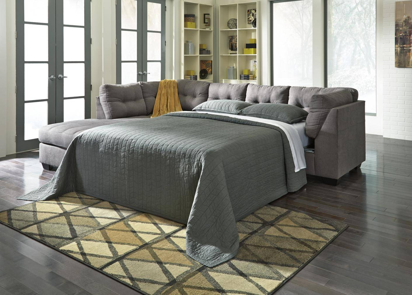 Maier Grey Fabric Sectional Sleeper Sofa – Steal A Sofa Furniture With Regard To Ashley Tufted Sofa (Image 17 of 30)