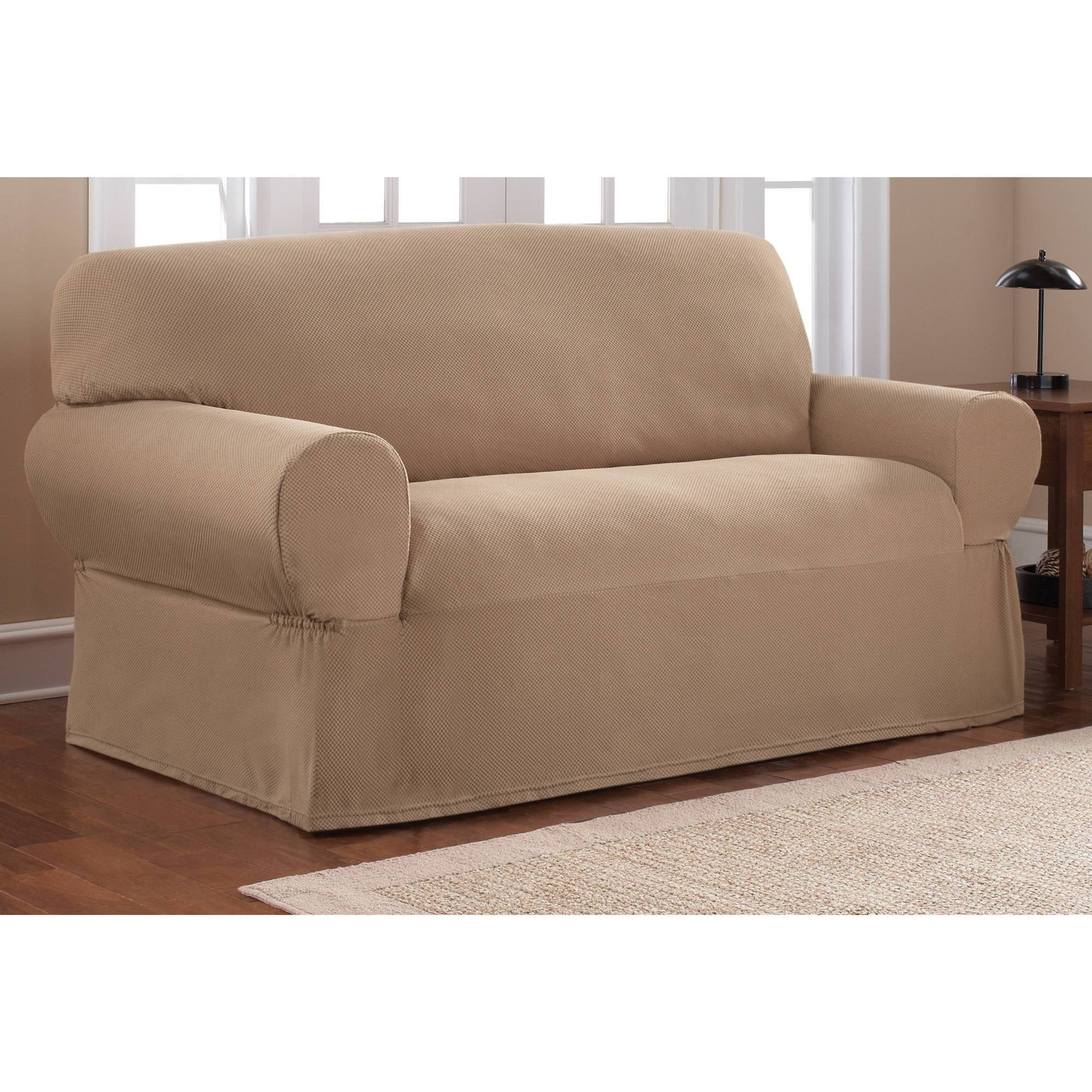 Mainstays 1-Piece Stretch Fabric Loveseat Slipcover - Walmart intended for Sofa Loveseat Slipcovers (Image 19 of 30)