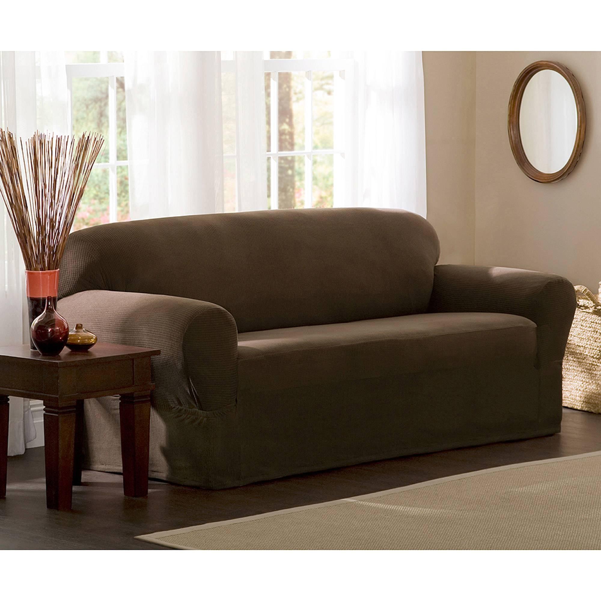 Mainstays 1-Piece Stretch Fabric Sofa Slipcover - Walmart for Wallmart Sofa (Image 17 of 25)