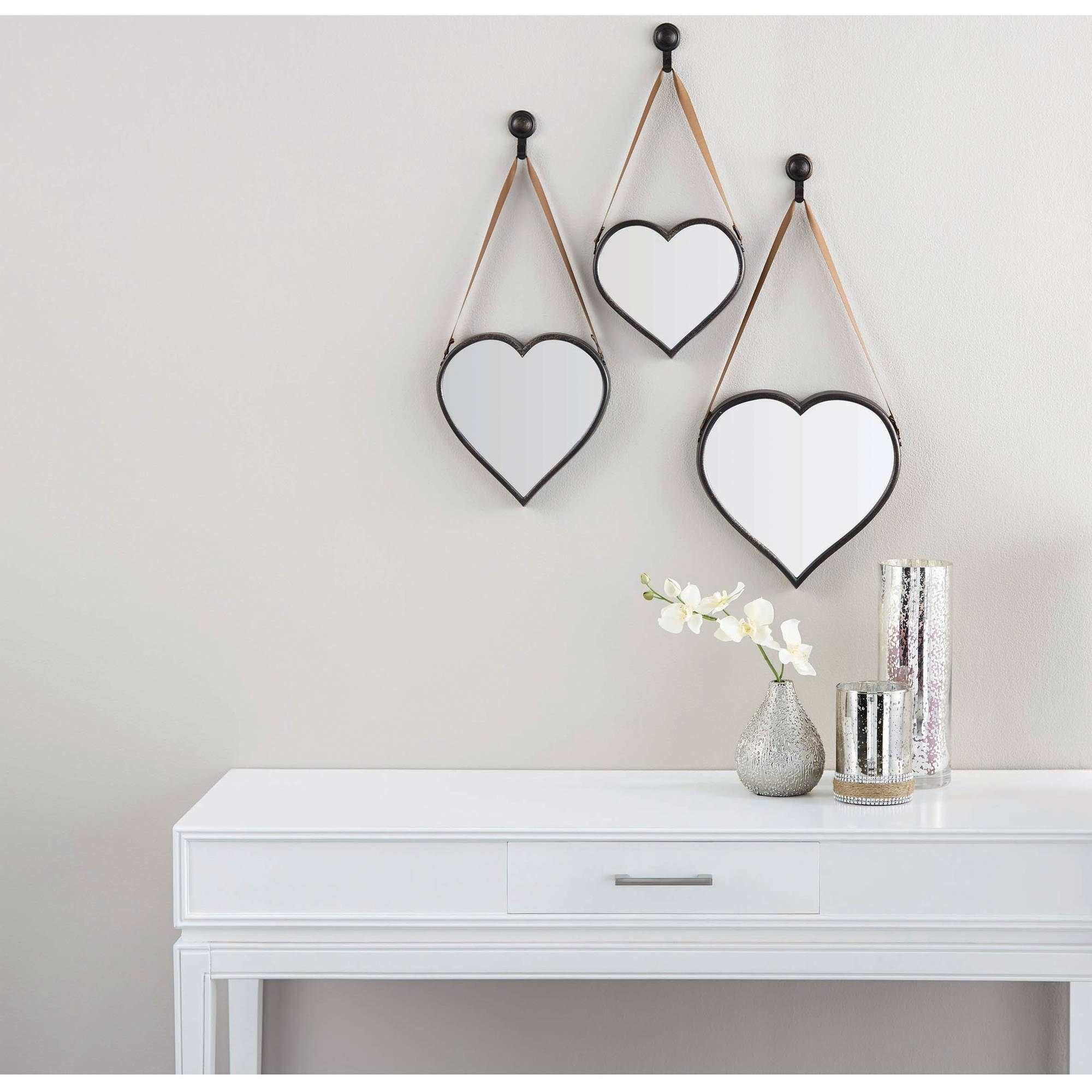 Mainstays 3 Piece Heart Mirror Set – Walmart In Heart Wall Mirrors (View 17 of 25)