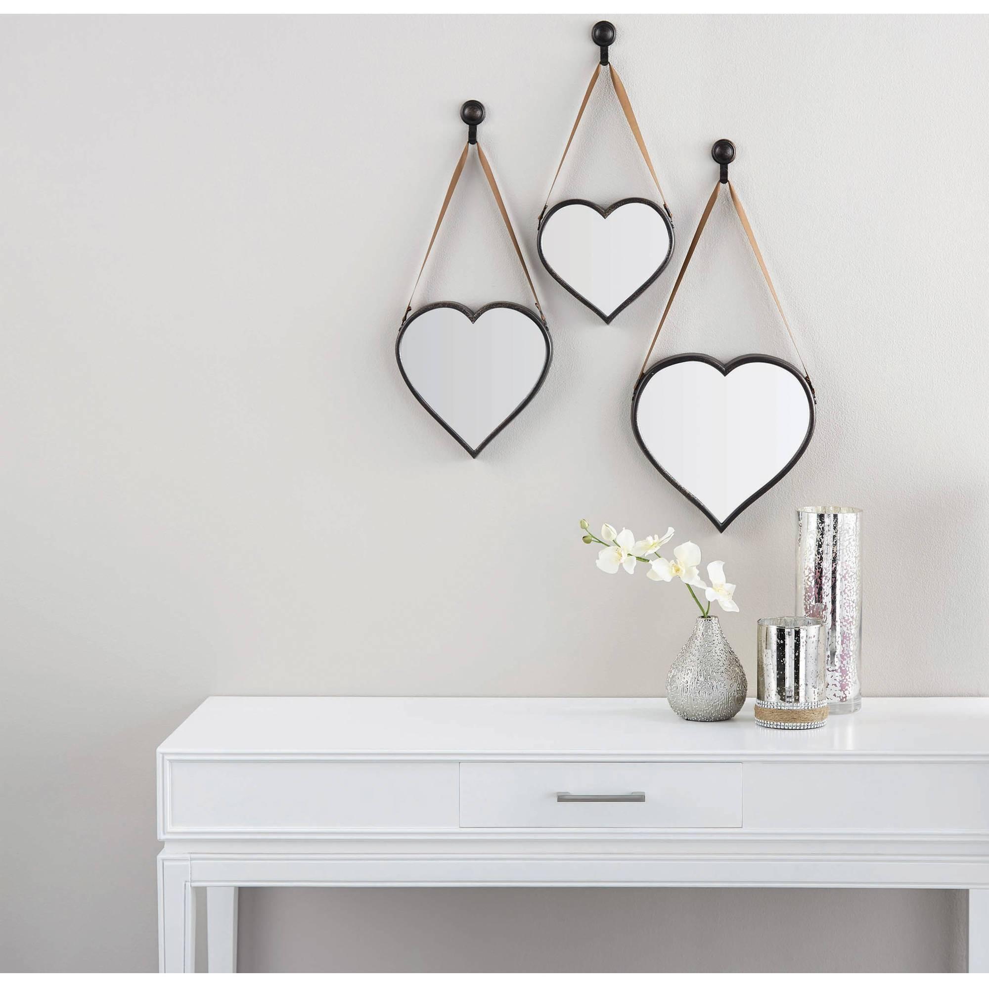 Mainstays 3-Piece Heart Mirror Set - Walmart in Heart Wall Mirrors (Image 17 of 25)