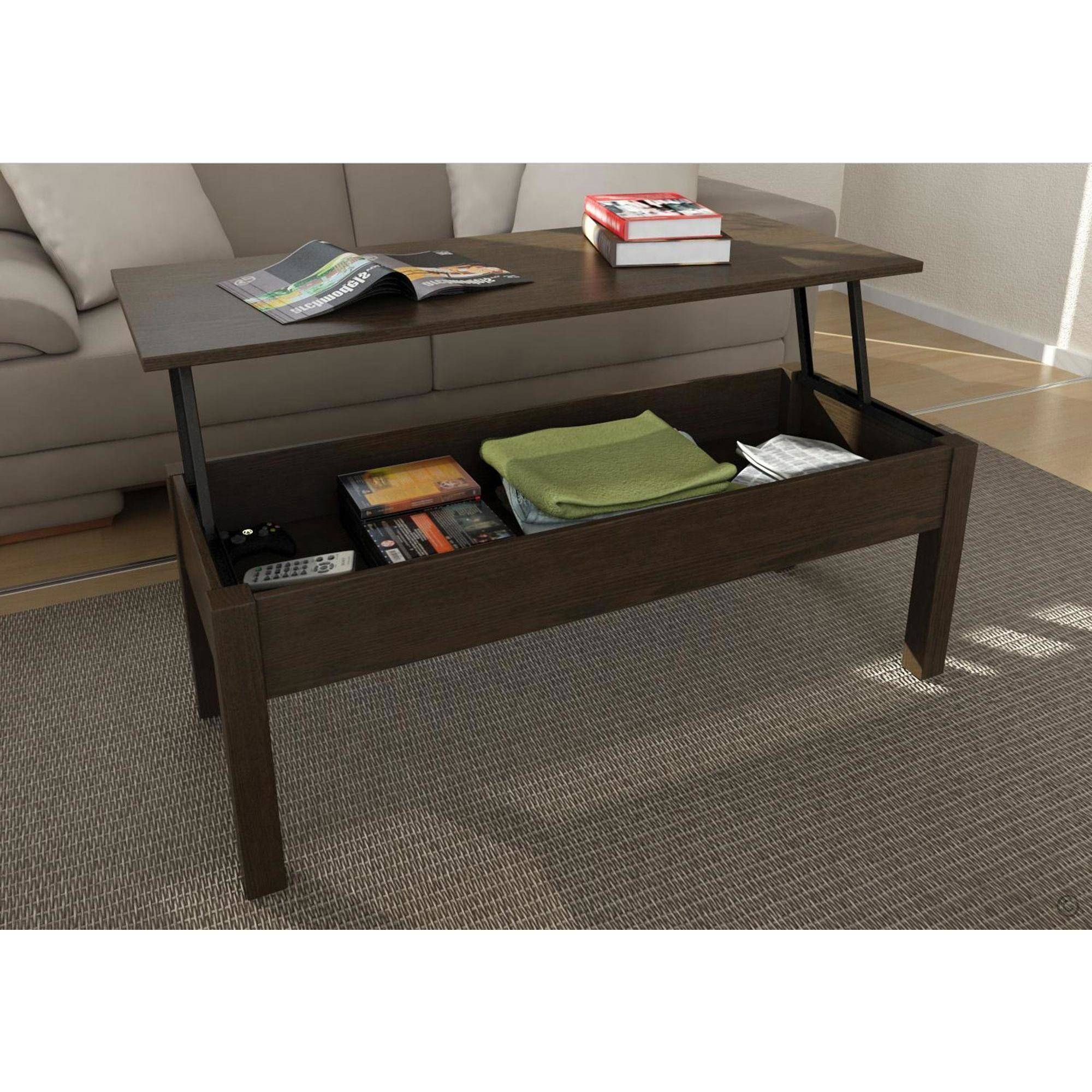 Mainstays Lift-Top Coffee Table, Multiple Colors - Walmart regarding Coffee Tables With Shelves (Image 22 of 30)