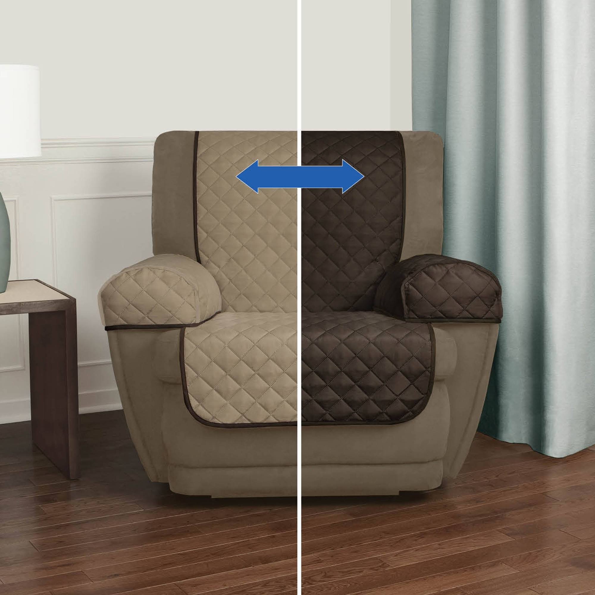 Mainstays Reversible Microfiber Fabric Pet/furniture Recliner In Sofa And Chair Covers (View 18 of 30)