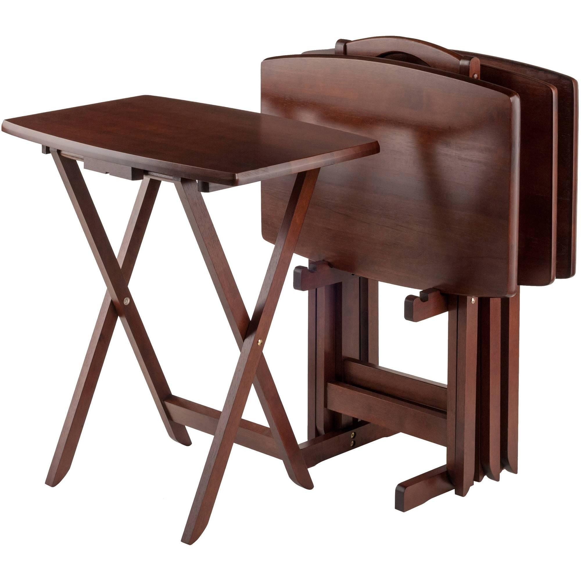 Mainstays Tray Table, Walnut - Walmart for Sofa Snack Tray Table (Image 10 of 30)