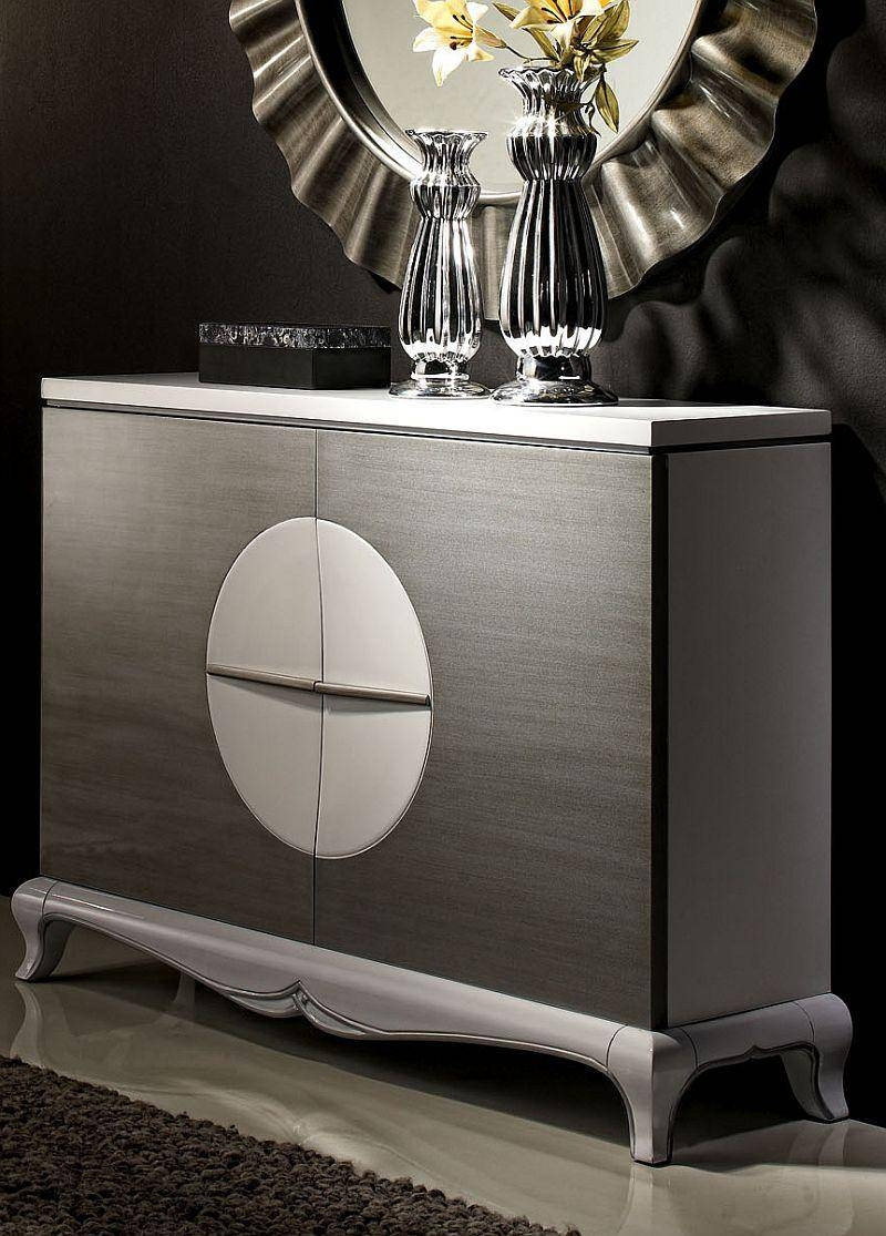 Malta, Contemporary Sideboard In Black Or White With Silver, Semi regarding Black And Silver Sideboards (Image 14 of 30)