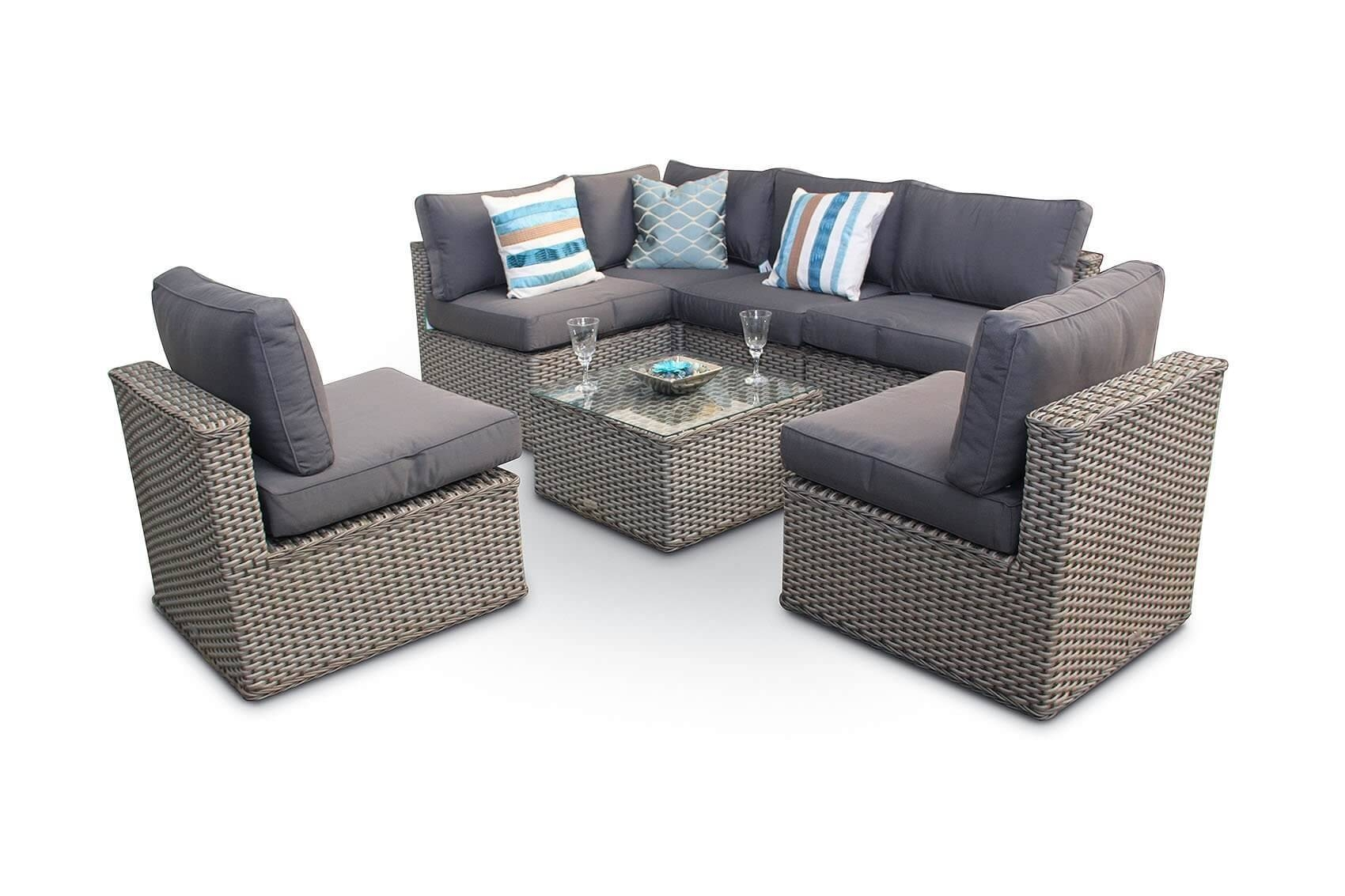 Manchester 10Pc Modular Rattan Sofa Dining Corner Sofa Set With with Corner Sofa Chairs (Image 22 of 30)