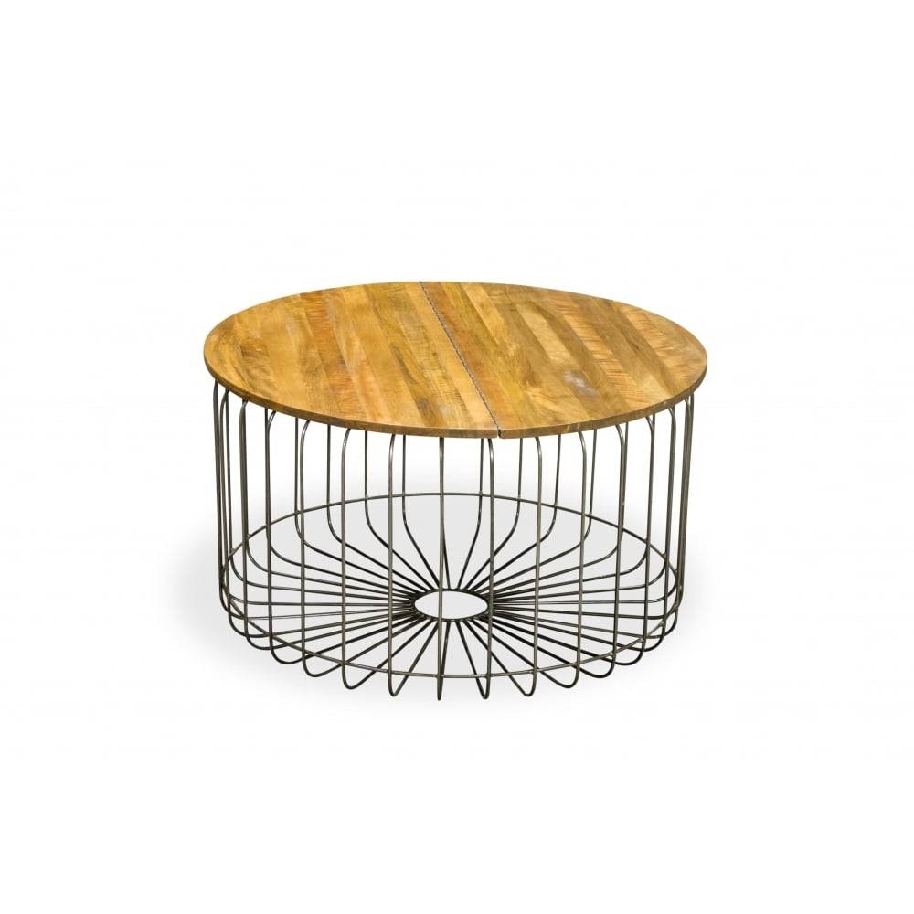 Mango Wood Birdcage Round Industrial Coffee Table | Reclaimed Wood pertaining to Mango Wood Coffee Tables (Image 17 of 30)