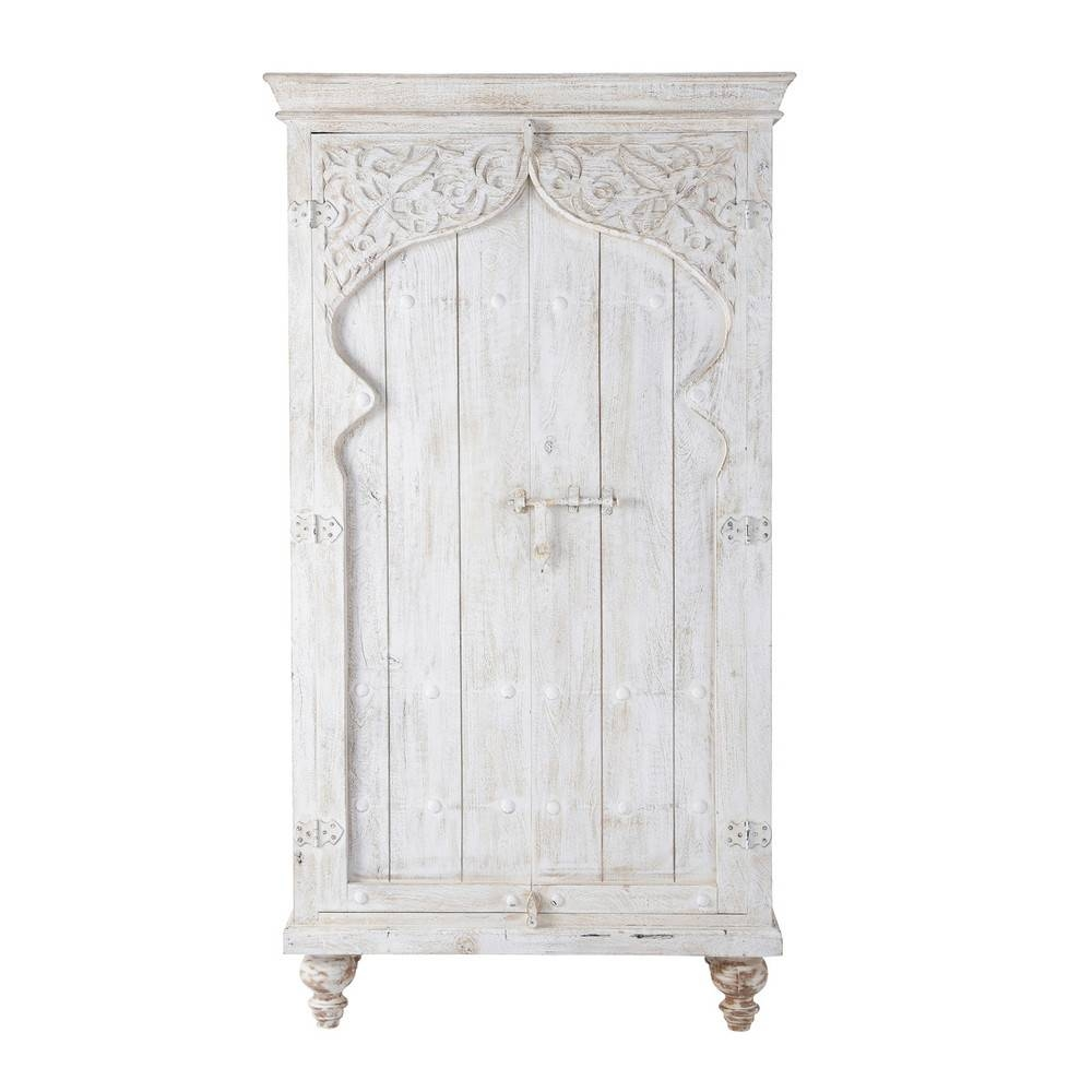 Mango Wood Wardrobe In White W 102Cm Sinbad | Maisons Du Monde with regard to White Wood Wardrobes (Image 7 of 15)