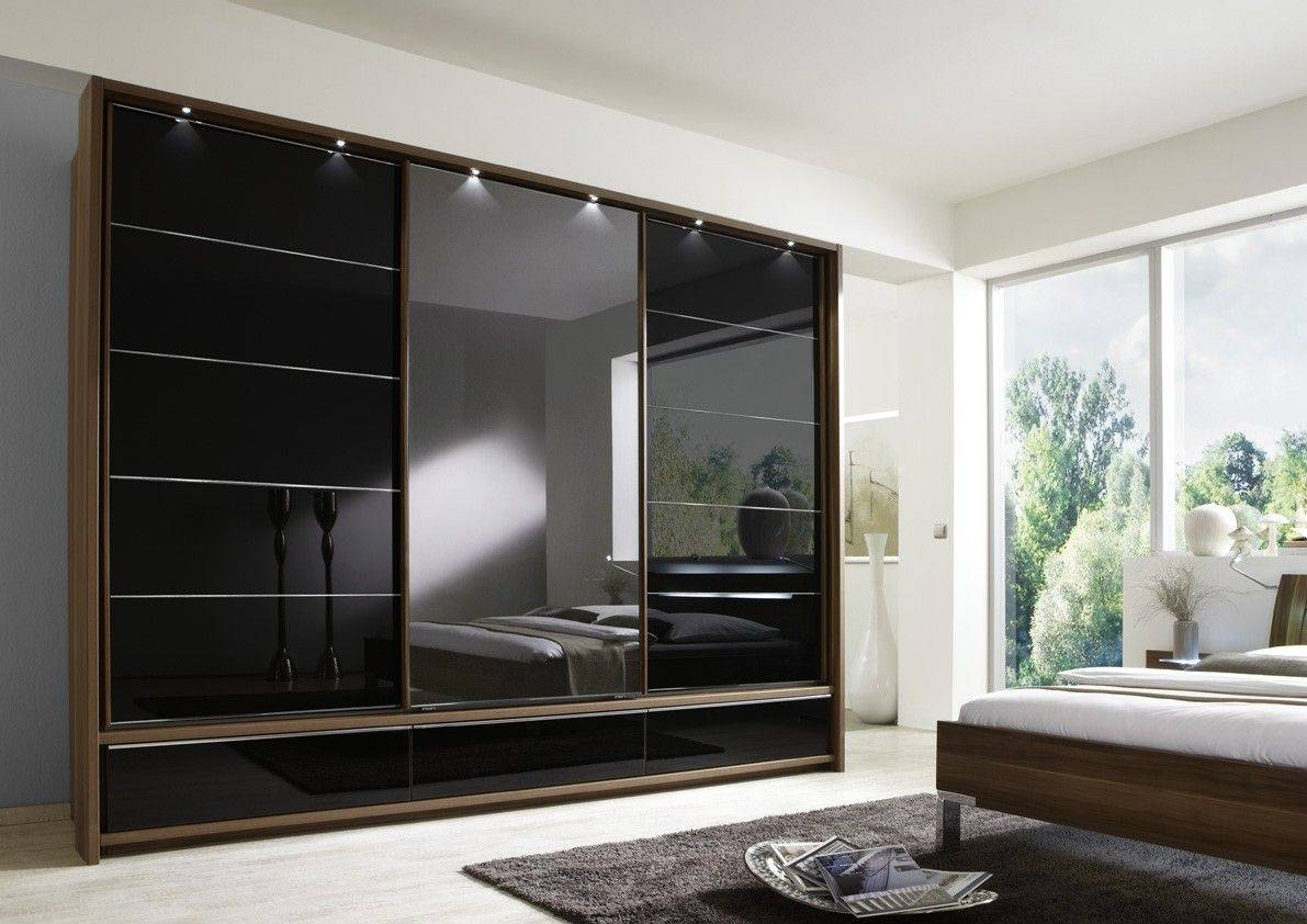 Manhattan Sliding Door Wardrobe 330Cm With Drawers Centre Mirror For Black Wardrobes With Drawers (View 6 of 15)