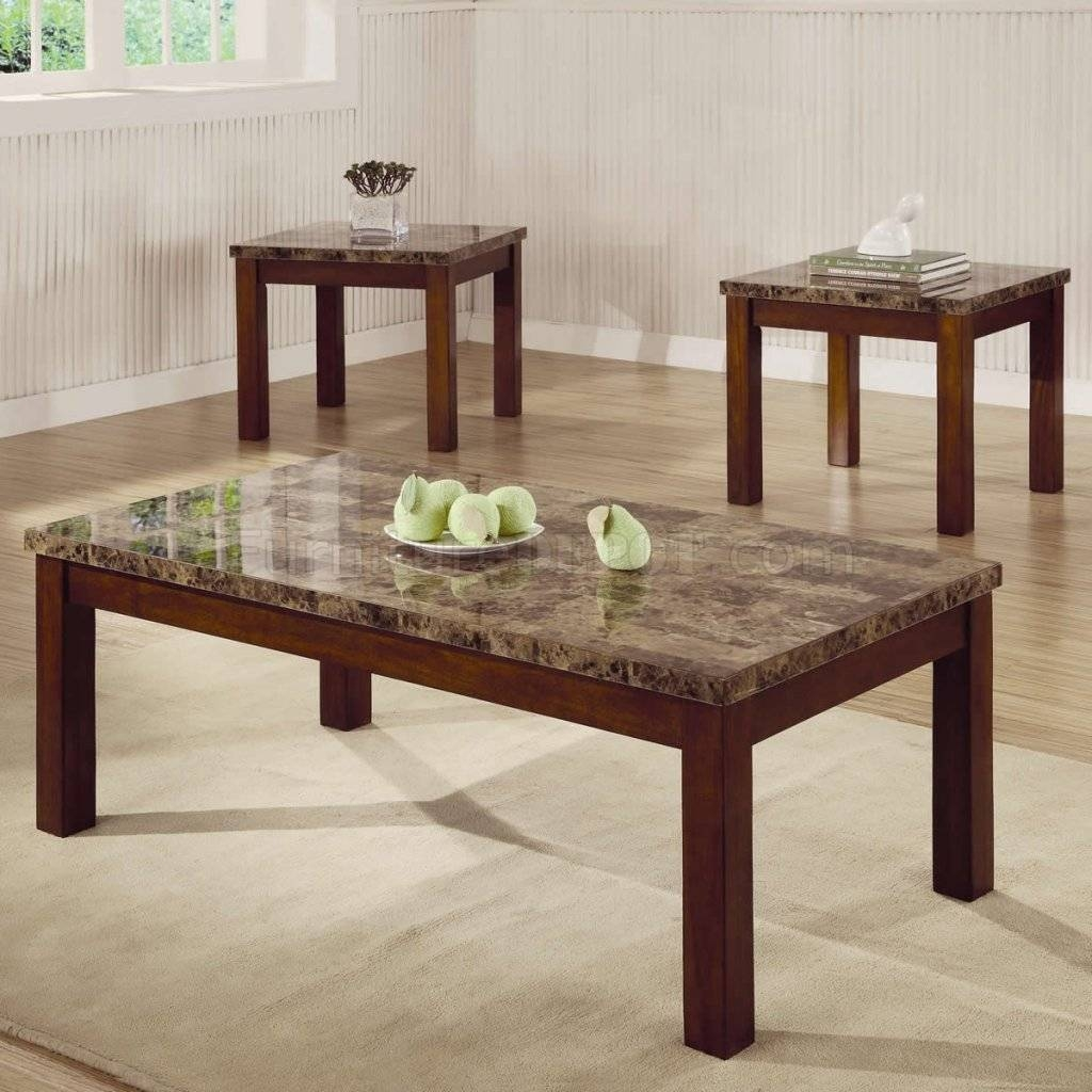 Marble-Like Top & Dark Oak Finish Modern 3Pc Coffee Table Set regarding Dark Oak Coffee Tables (Image 14 of 15)