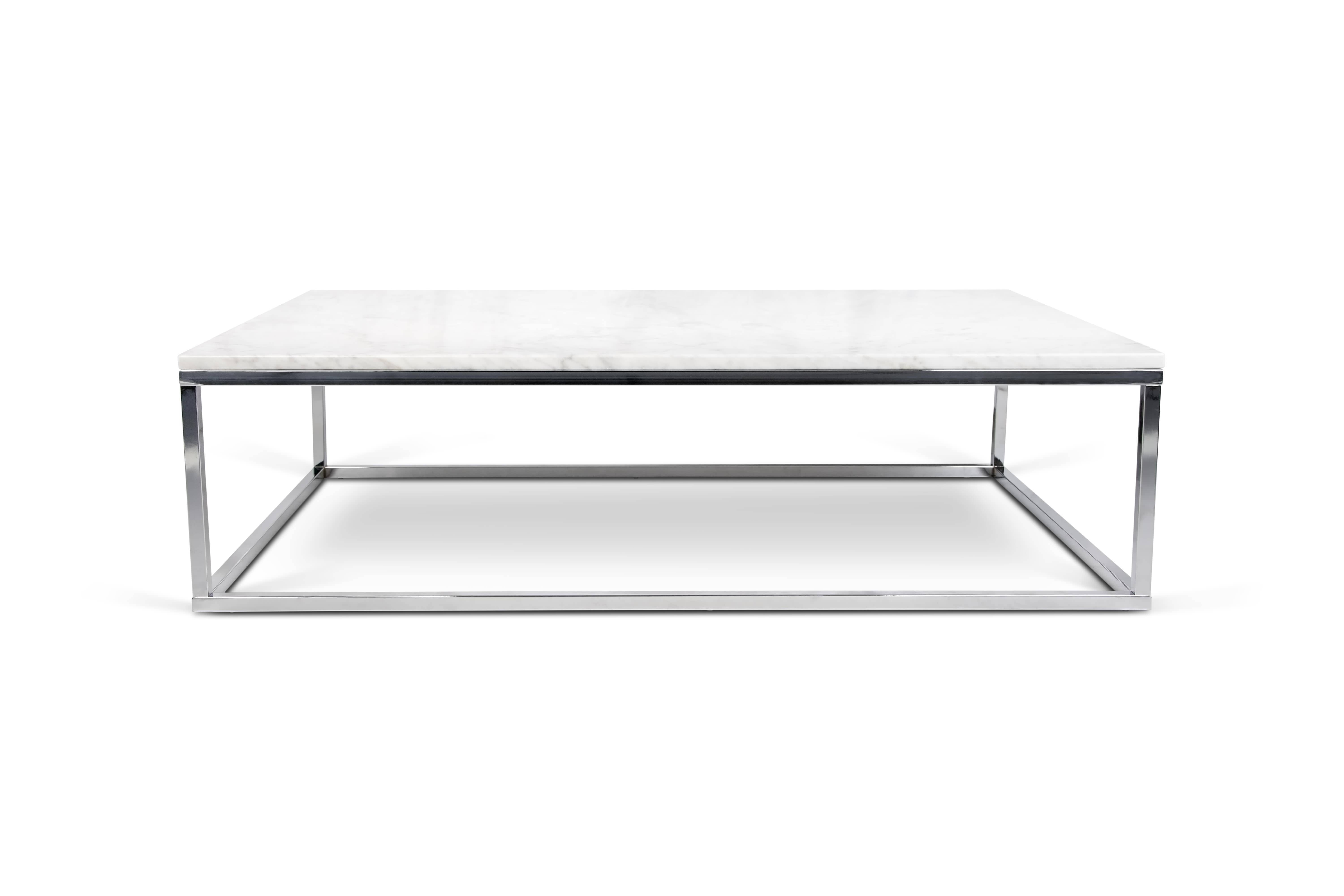 Marble Top Coffee Table | Pomphome in Chrome And Wood Coffee Tables (Image 18 of 30)