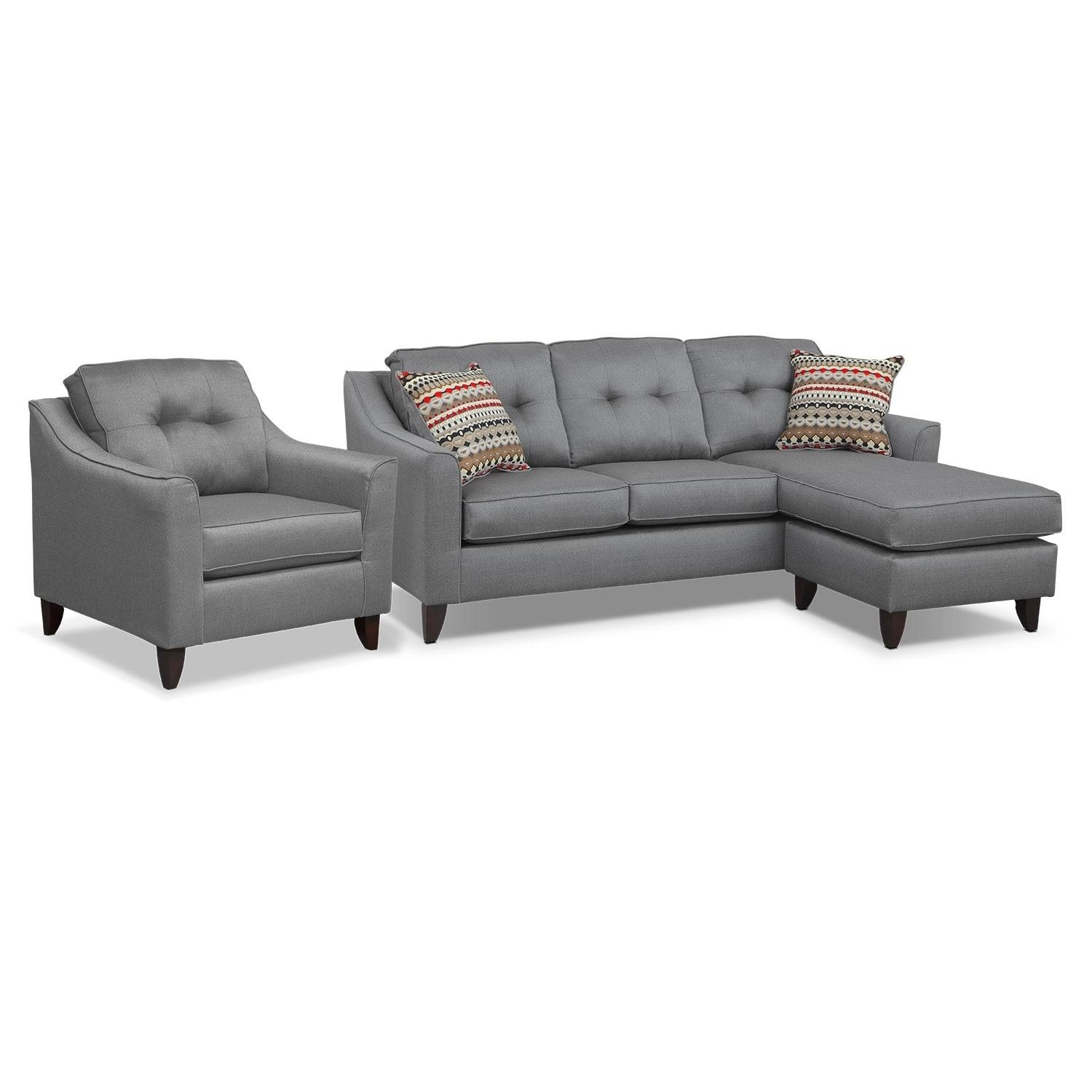 Marco Chaise Sofa And Chair Set – Gray | American Signature Furniture Regarding Sofa And Chair Set (View 19 of 30)
