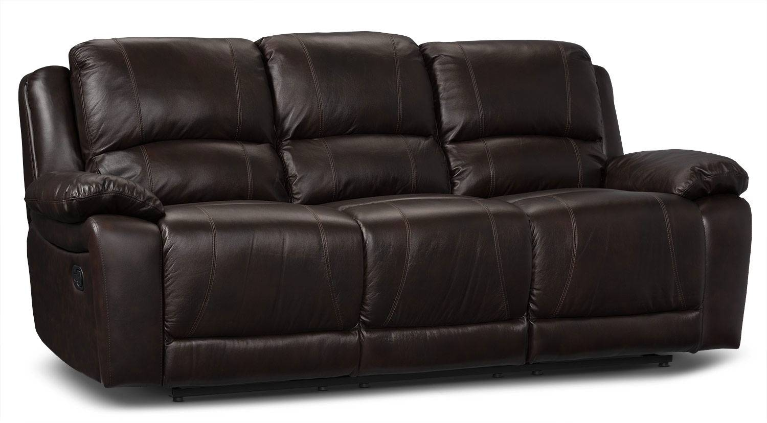 Marco Genuine Leather Power Reclining Sofa - Chocolate | The Brick for The Brick Leather Sofa (Image 13 of 30)