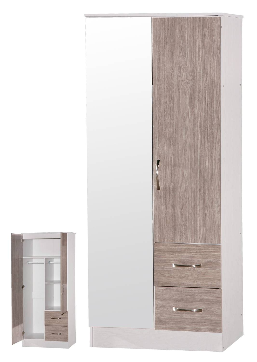 Marina Grey Oak & White High Gloss Mirrored Combination Wardrobe in Oak Mirrored Wardrobes (Image 6 of 15)