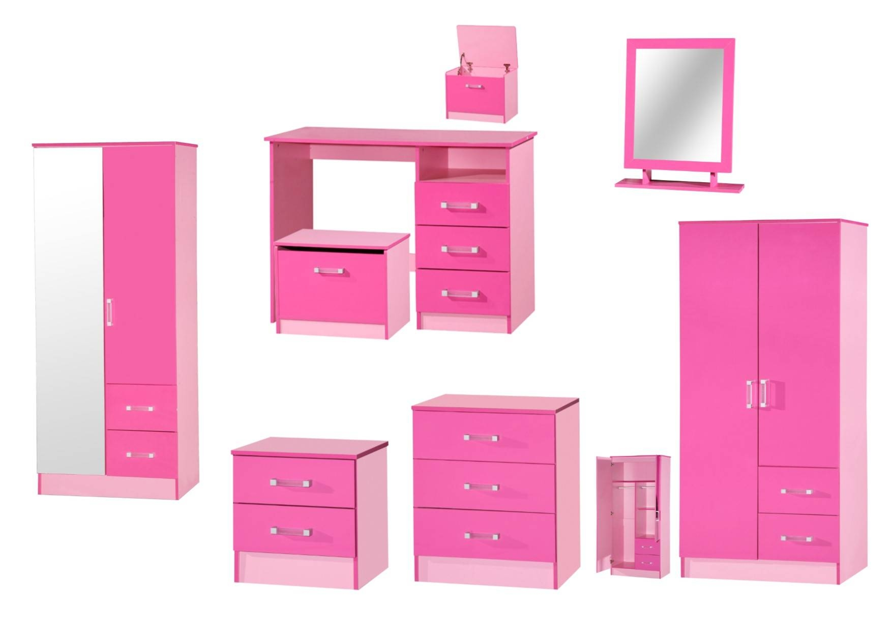 Marina Pink High Gloss Bedroom Furniture - Sets Wardrobe Drawers intended for Pink High Gloss Wardrobes (Image 11 of 15)