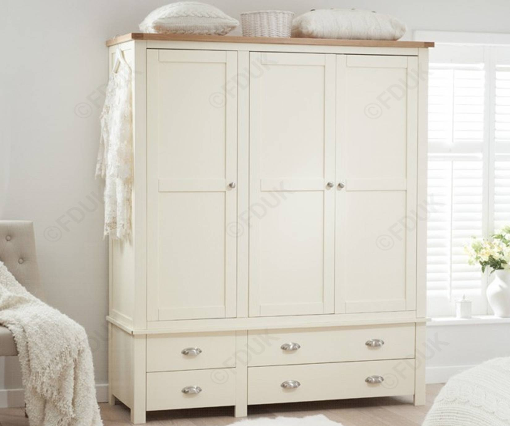 Mark Harris Sandringham | Sandringham Oak And Cream Triple for Cream Triple Wardrobes (Image 9 of 15)