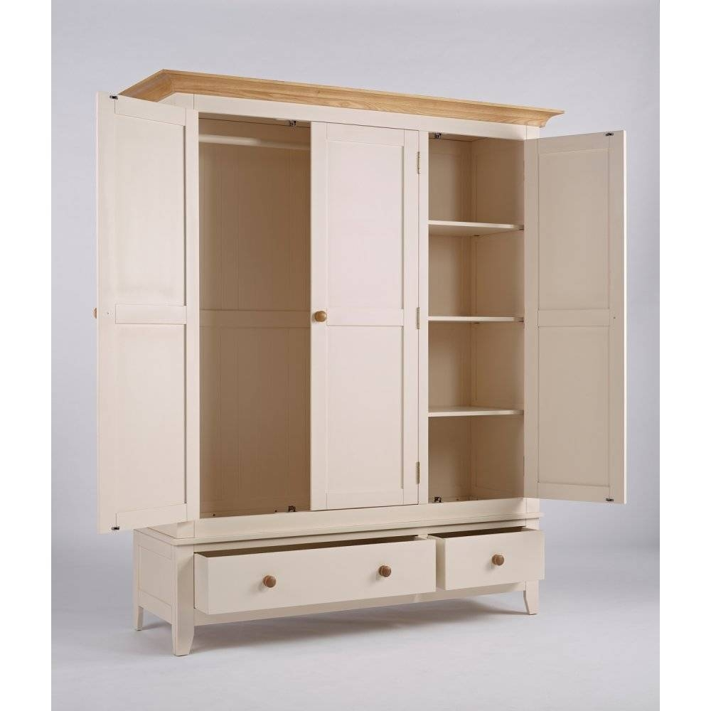 Marlow 3 Door 2 Drawer Wardrobe | The Furniture House regarding White 3 Door Wardrobes With Drawers (Image 6 of 15)