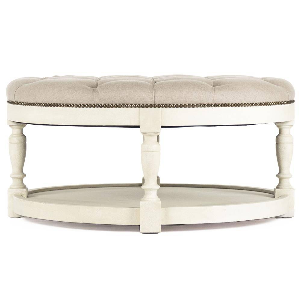 Marseille French Country Cream Ivory Linen Round Tufted Coffee within Country French Coffee Tables (Image 28 of 30)