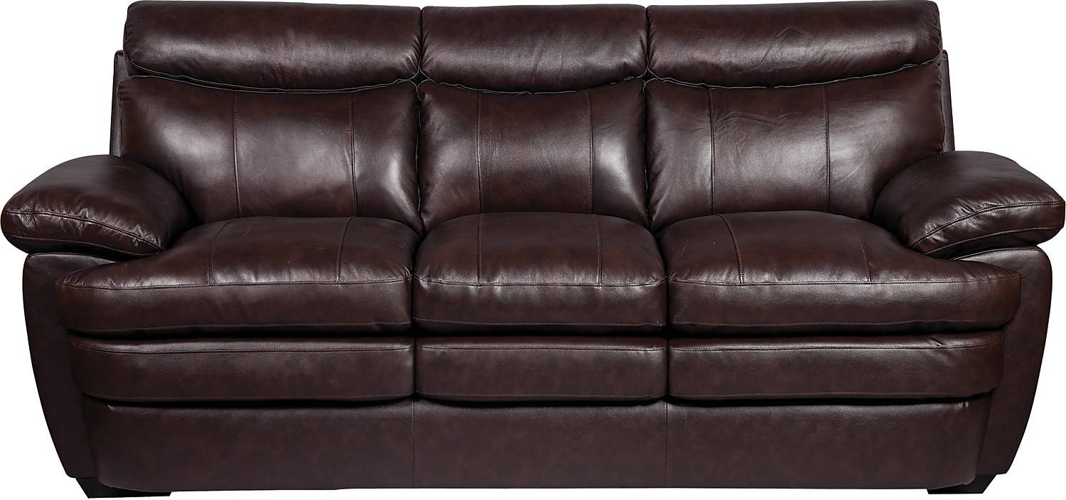 Marty Genuine Leather Sofa - Brown | The Brick inside The Brick Leather Sofa (Image 14 of 30)