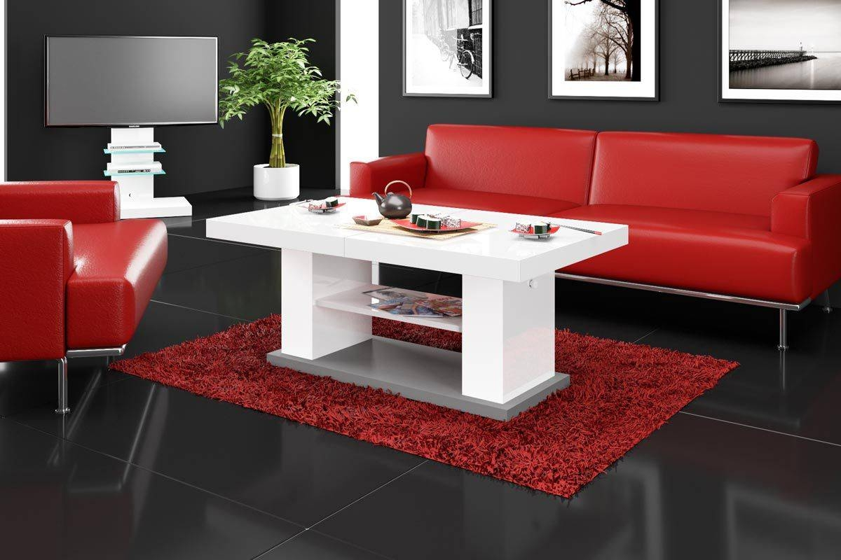 Matera 2 White High Gloss Coffee Table | Coffee Tables | Modern Tv for White High Gloss Coffee Tables (Image 19 of 30)