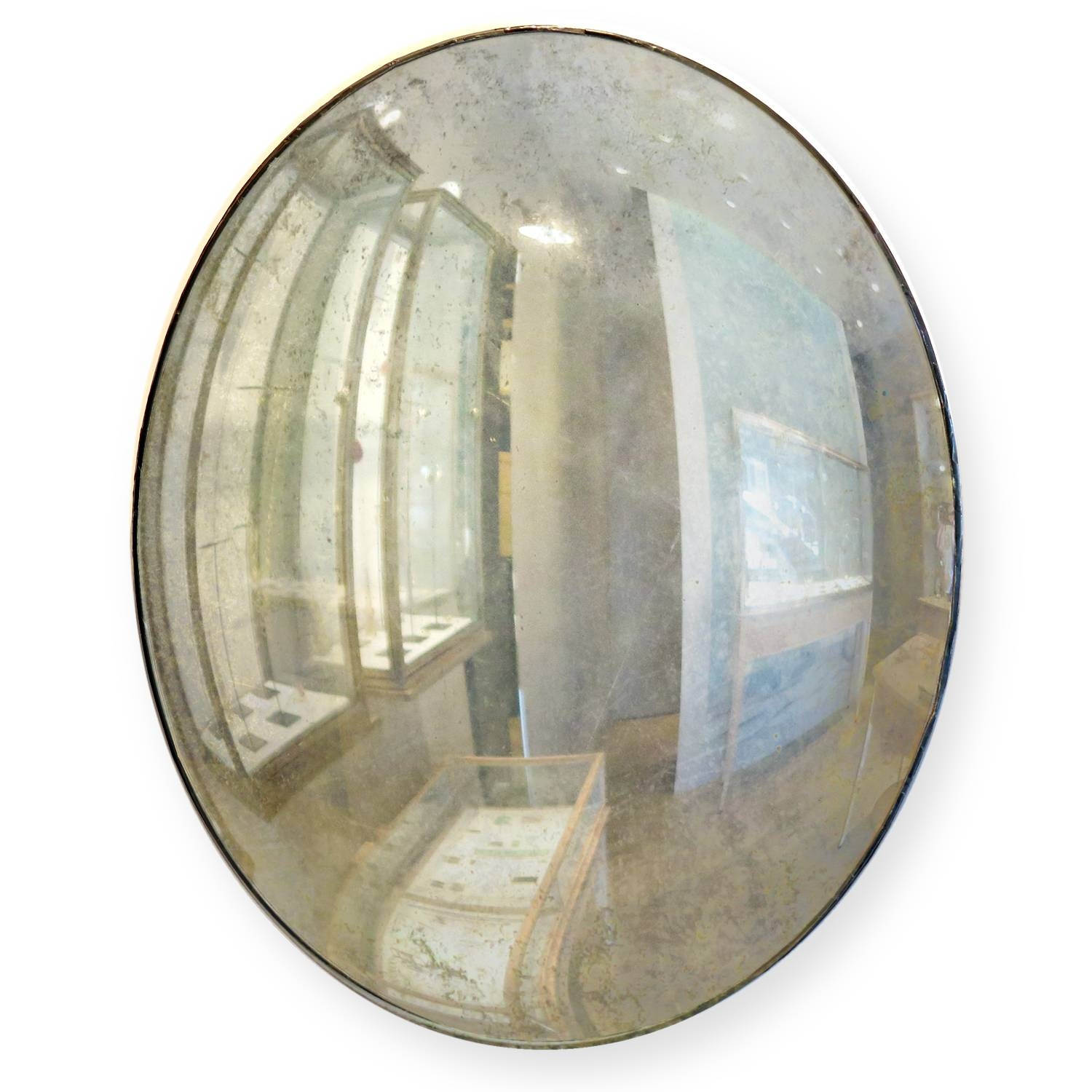 Maureen Fullam 16 X 20 Inches Large Convex Oval Silver Leafed with Large Convex Mirrors (Image 17 of 25)