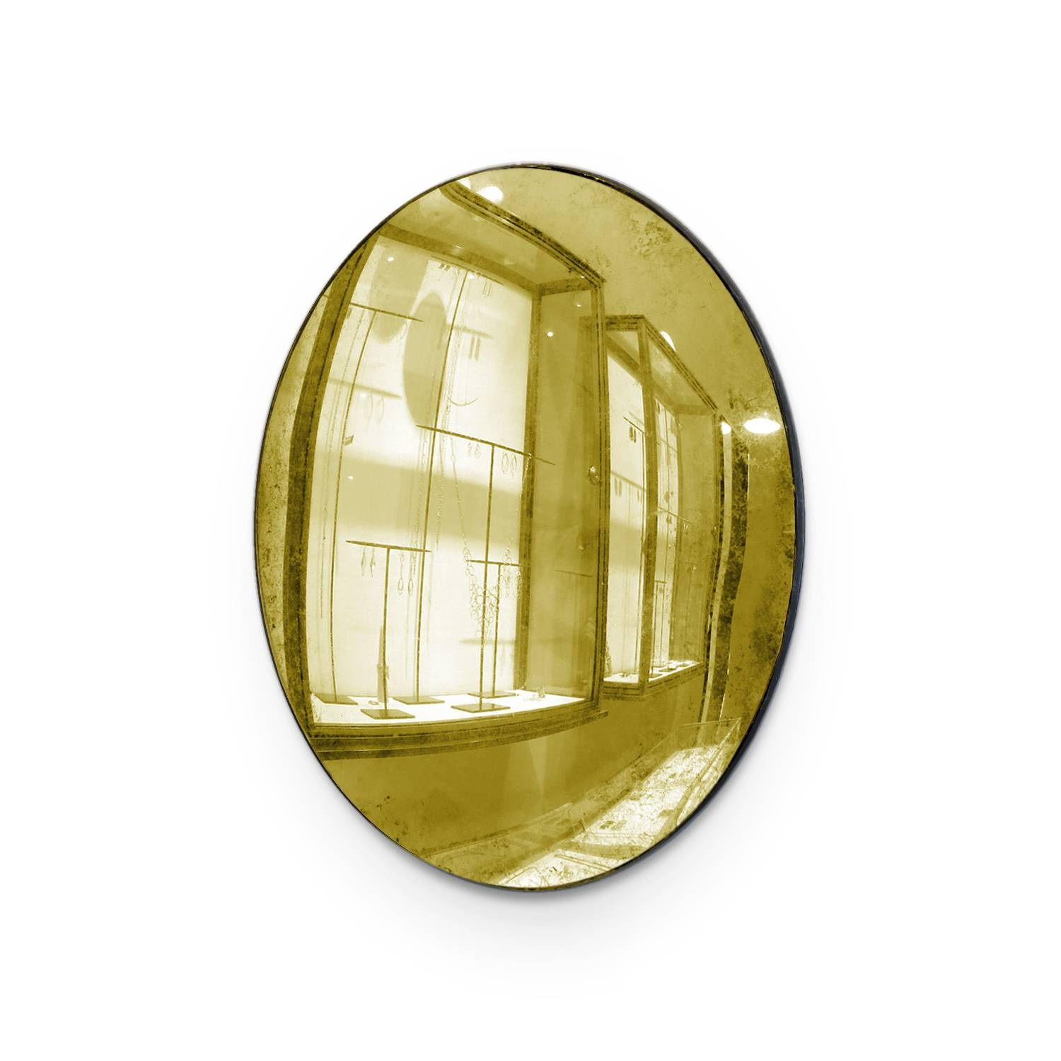 Maureen Fullam 9 X 12 Inch Oval Convex Gold Leafed Mirror - August regarding Small Convex Mirrors (Image 10 of 25)