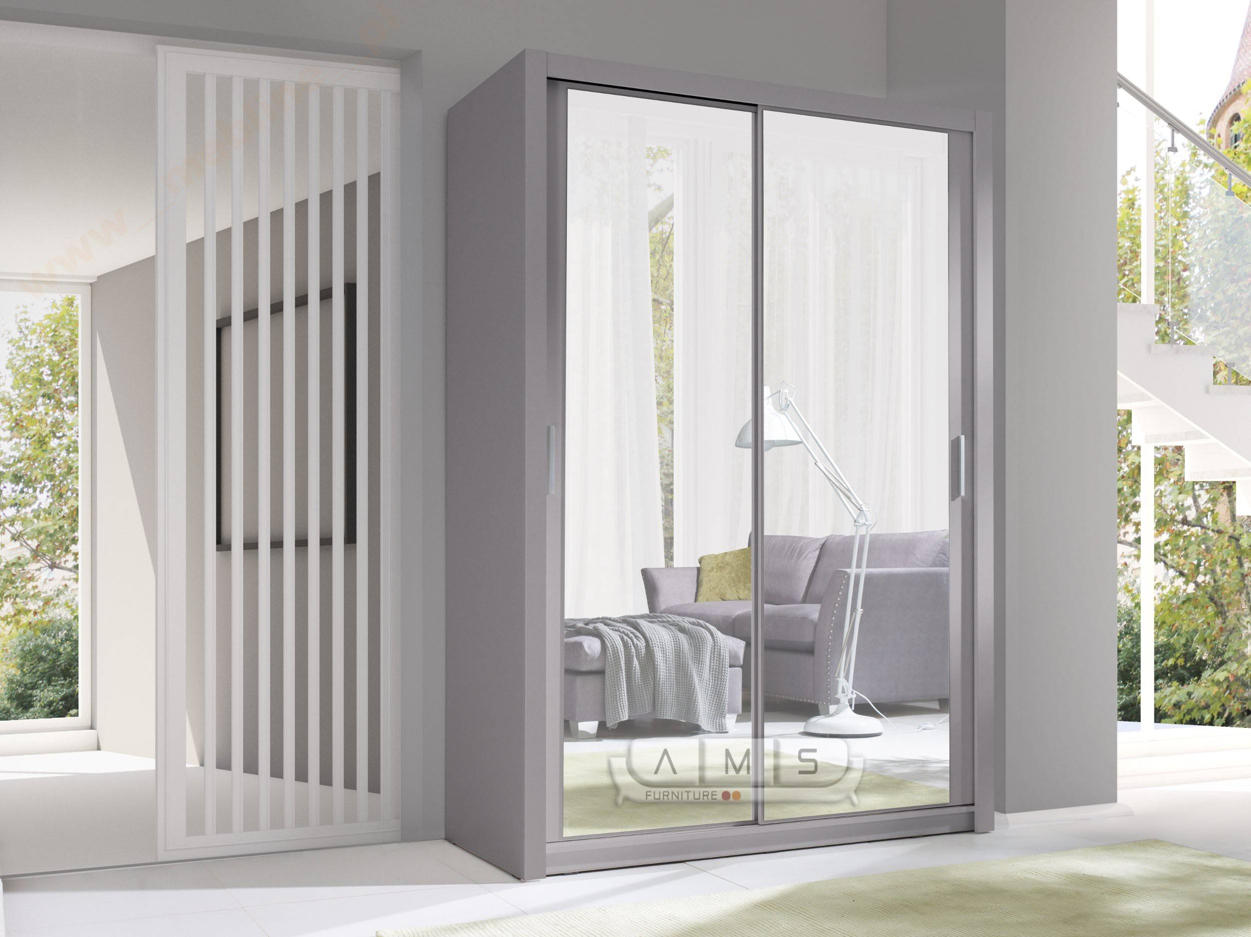 Maya 2 Door Sliding 150Cm Wide Full Mirror Wardrobe - Cheap Home pertaining to Full Mirrored Wardrobes (Image 5 of 15)