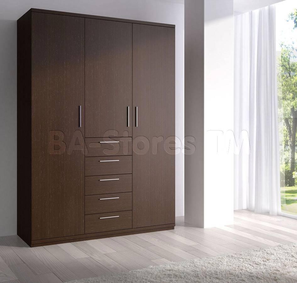 Maya Dark Wenge 3-Door Wardrobe - Esf Furniture - $1,906.00 pertaining to Dark Wood Wardrobe Sets (Image 26 of 30)