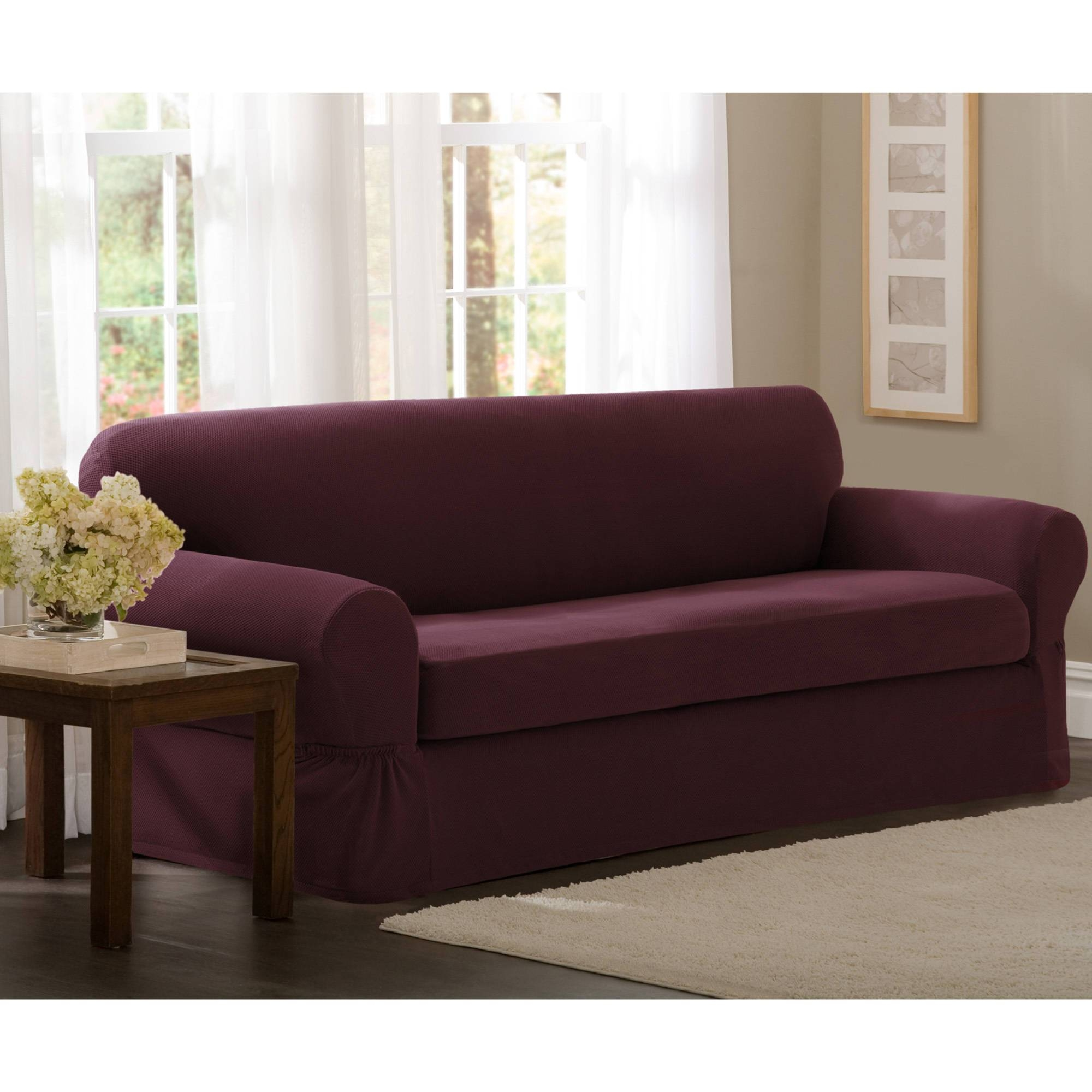 Maytex Stretch 2-Piece Sofa Slipcover - Walmart for 2 Piece Sofa Covers (Image 16 of 30)