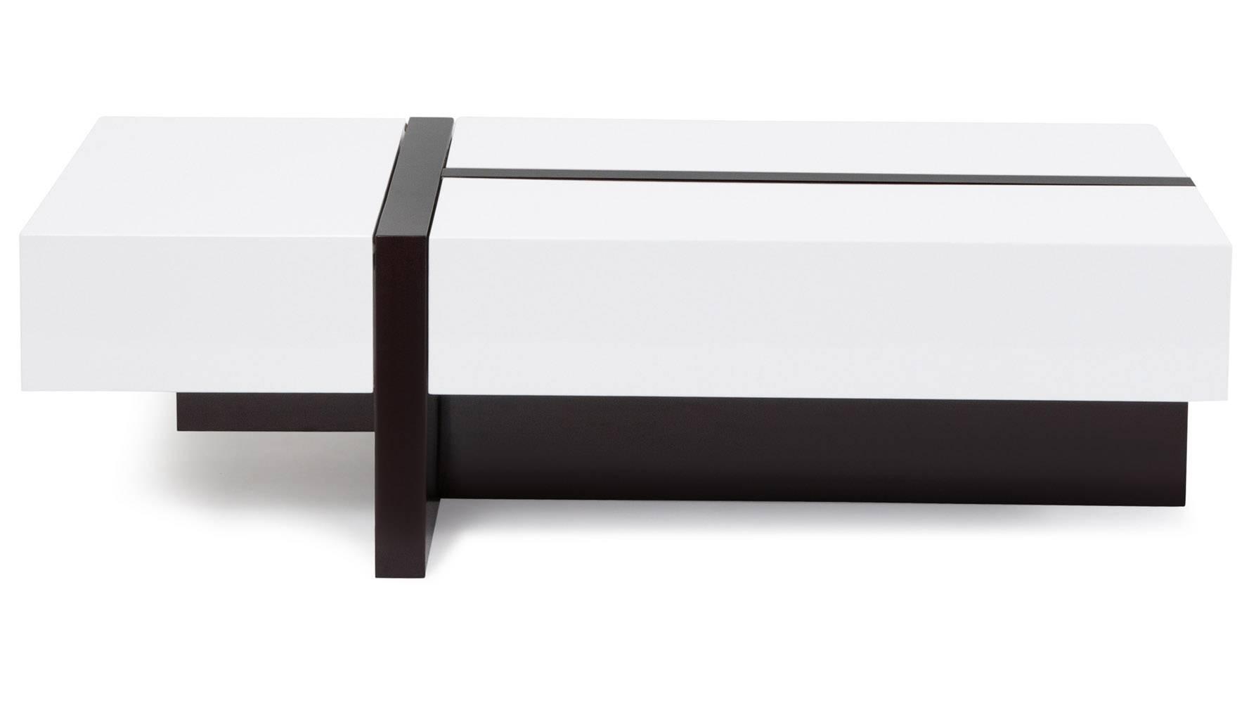 Mcintosh High Gloss Coffee Table With Storage - White Rectangle within High Gloss Coffee Tables (Image 17 of 30)