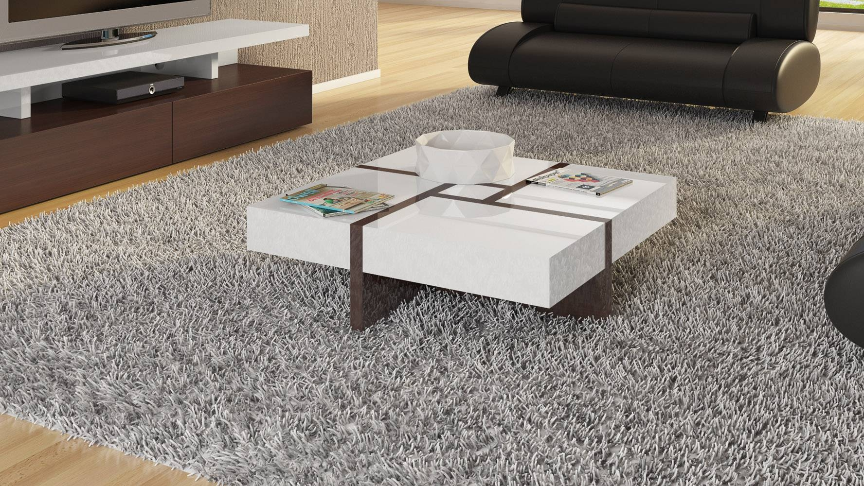 Mcintosh High Gloss Coffee Table With Storage - White Square for White Coffee Tables With Storage (Image 18 of 30)