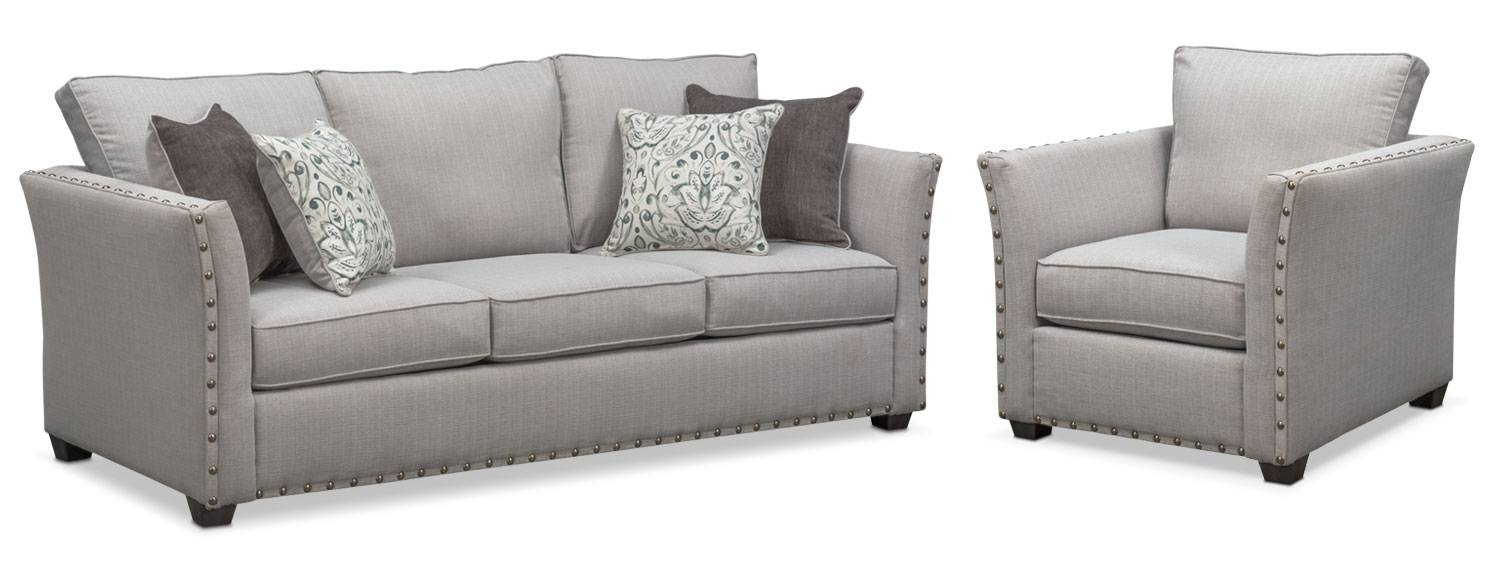 Mckenna Sofa And Chair Set – Pewter | American Signature Furniture In Sofa And Chair Set (View 22 of 30)