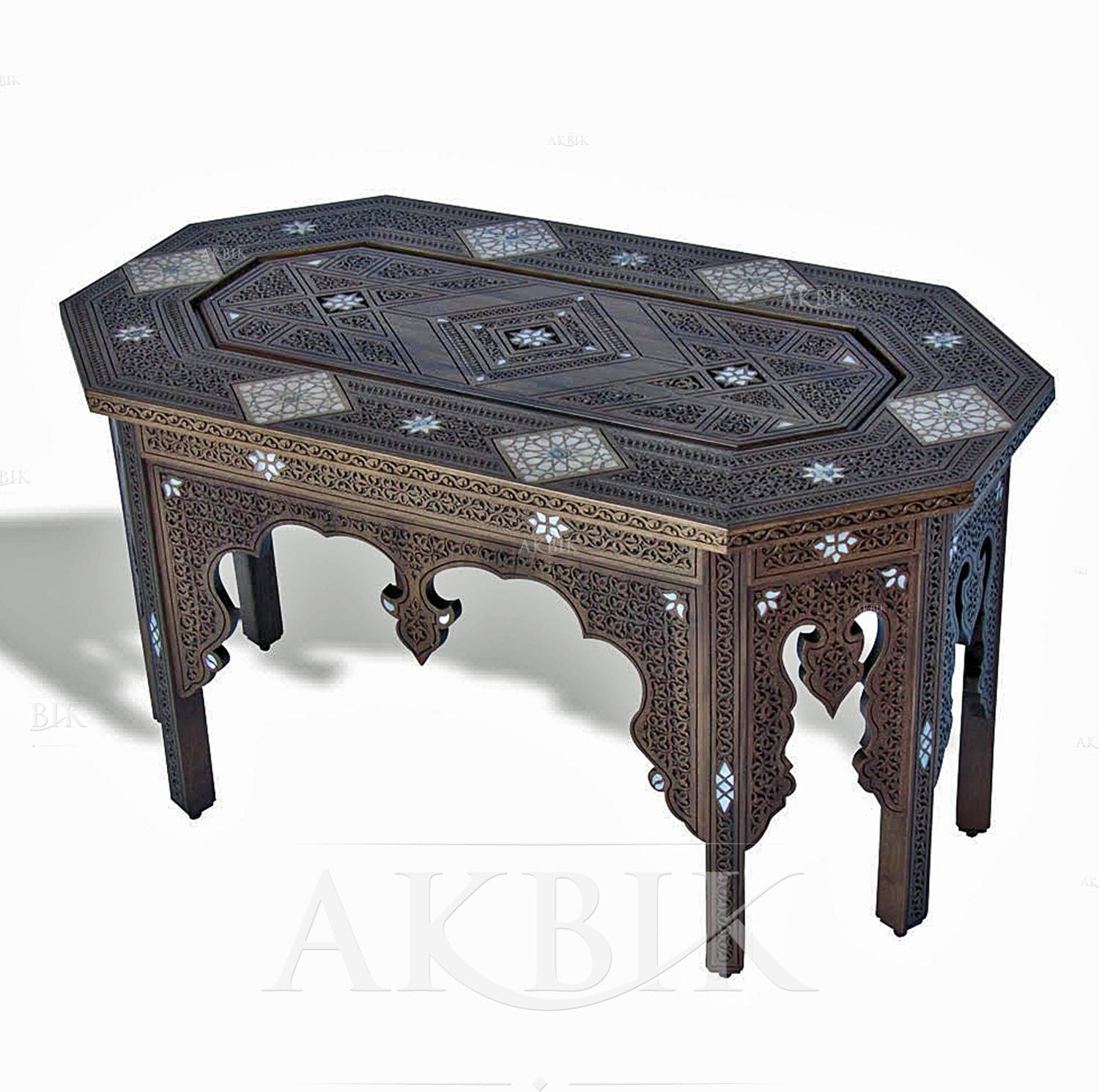 Mediterranean, Levantine & Syrian Furniture Inlaid With Mother Of within Mother Of Pearl Coffee Tables (Image 23 of 30)