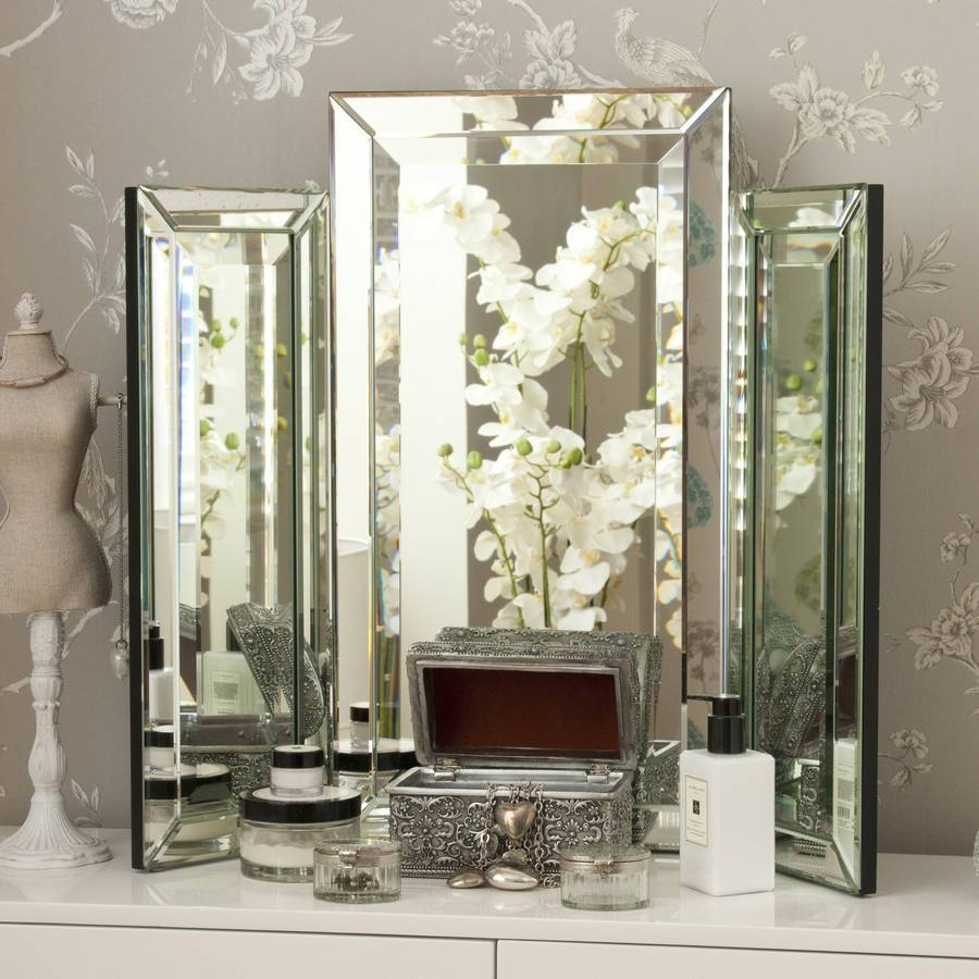 Medium Bevelled Dressing Table Triple Mirrordecorative Mirrors throughout Decorative Dressing Table Mirrors (Image 20 of 25)