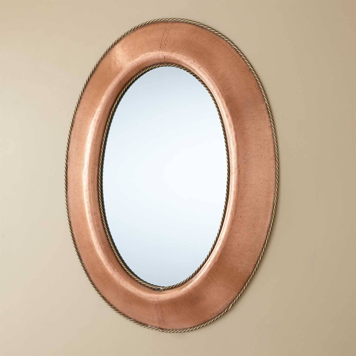 Medium Oval Lightly Hammered Copper Mirror With Brass Accents with White Oval Mirrors (Image 6 of 25)